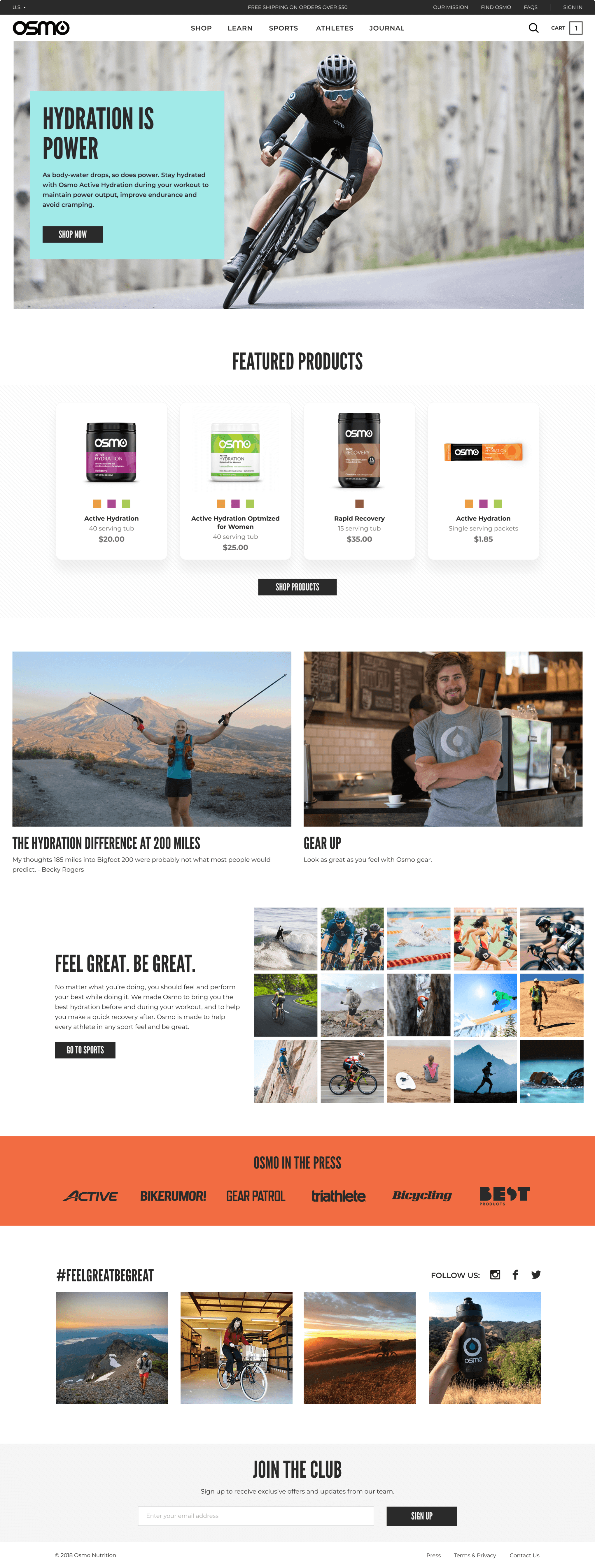 The final design for the home page of Osmo's website features four products and pro rider Peter Sagan.