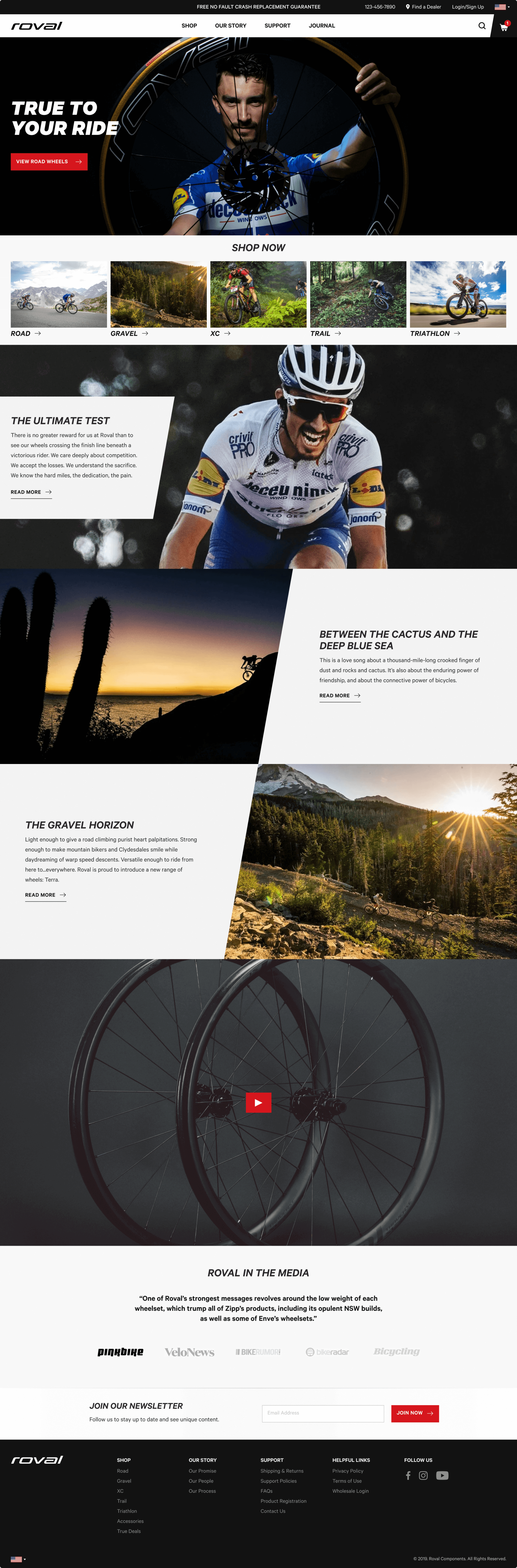 The final design for the homepage of Roval's website featuring different types of riders and journal articles.
