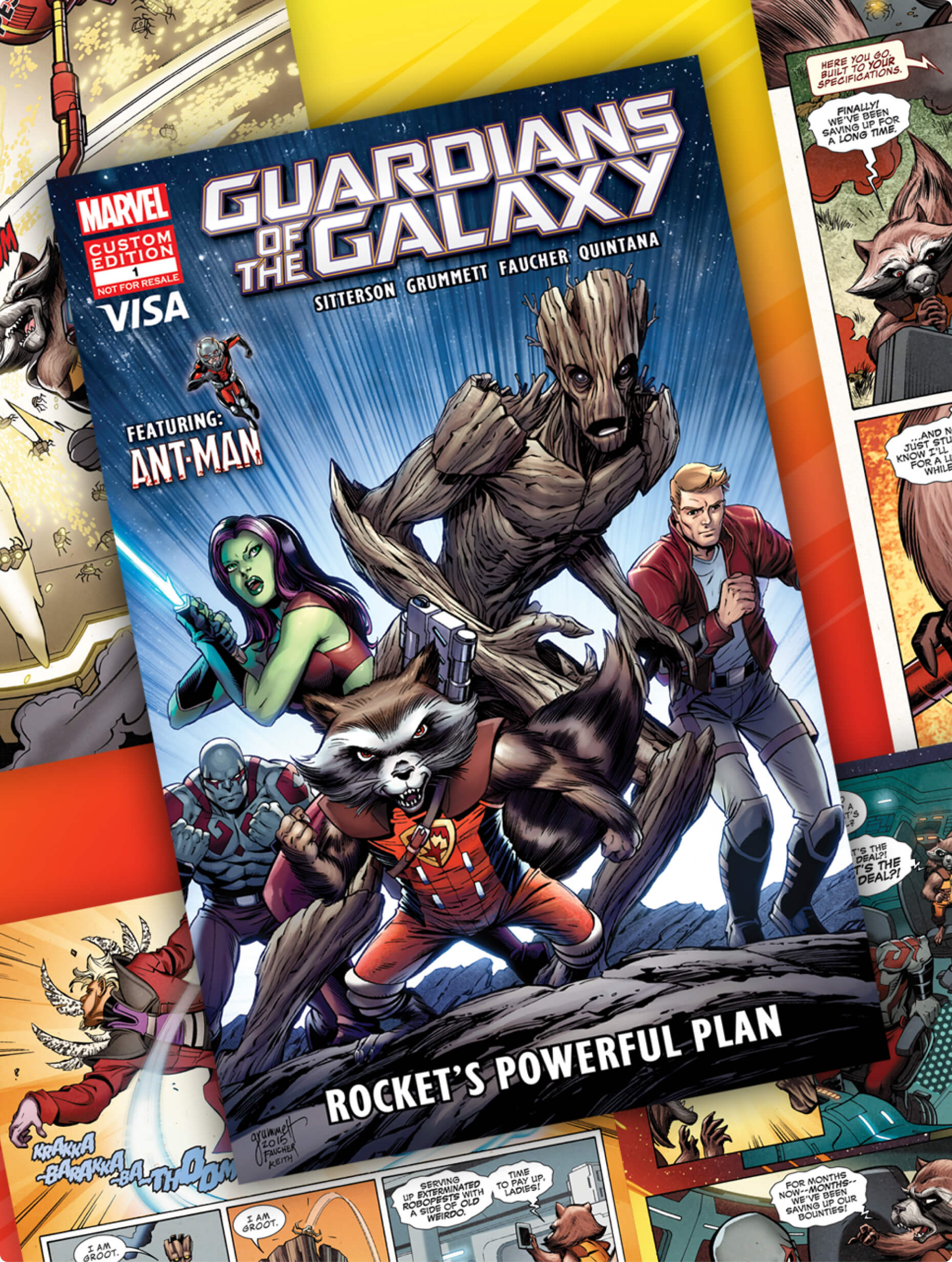 A special edition of a Guardians of the Galaxy comic book teaching financial literacy is shown on a backdrop of scenes from the comic.