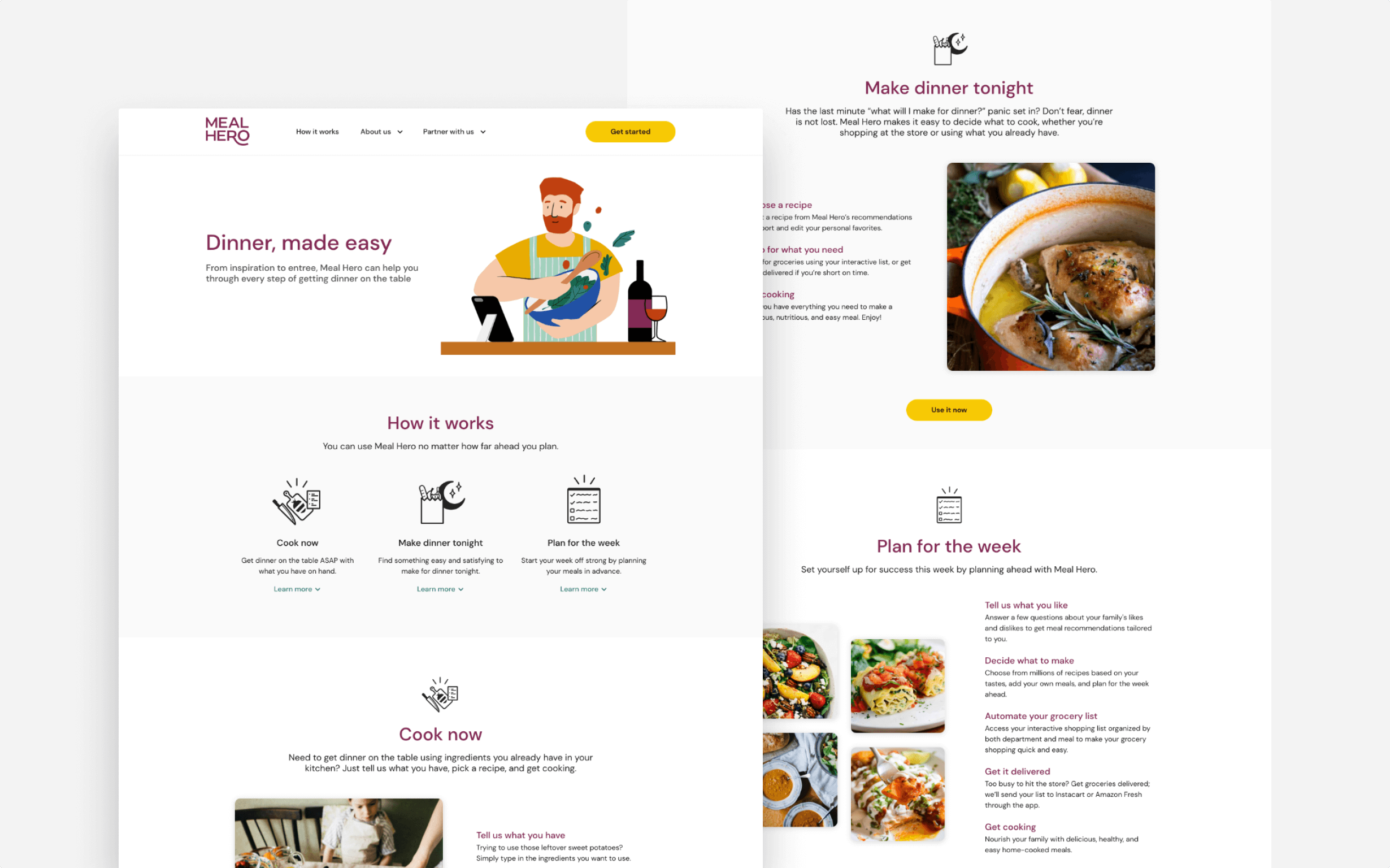The How it Works page for Meal Hero's website provides more details about how to use the app.