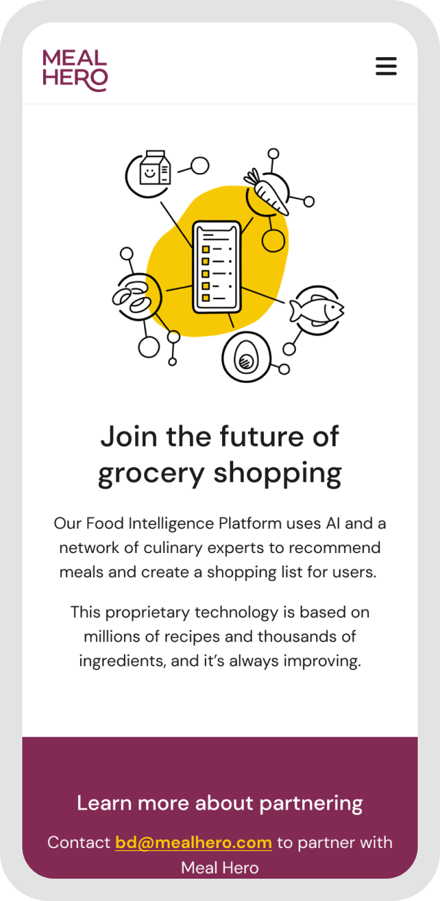 Meal Hero's web design displayed on a mobile device featuring an illustration of a web of food items.