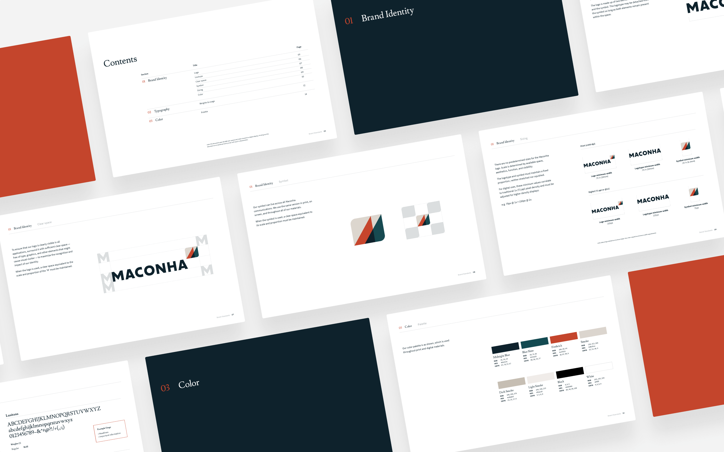 A slide deck explaining how to apply the Maconha brand guidelines.