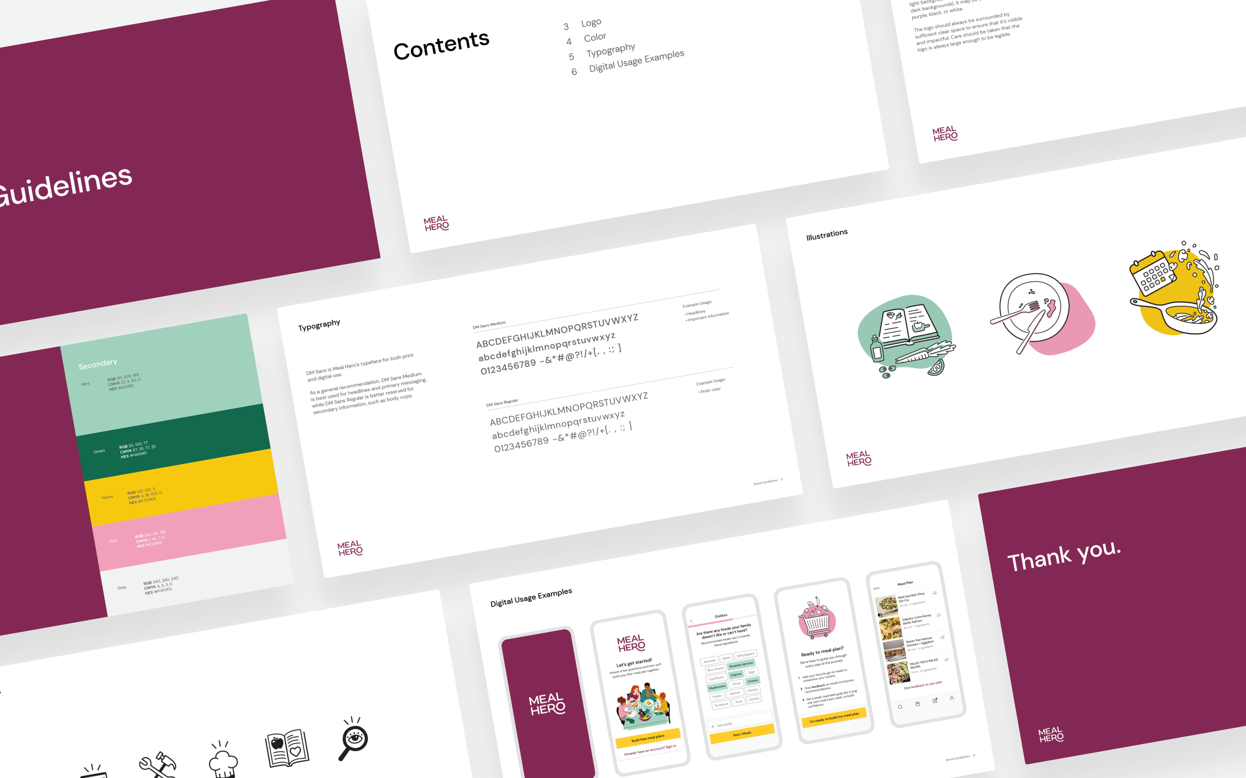 A slide deck outlining Meal Hero's' brand guidelines including colors, typography, illustrations, and digital usage.