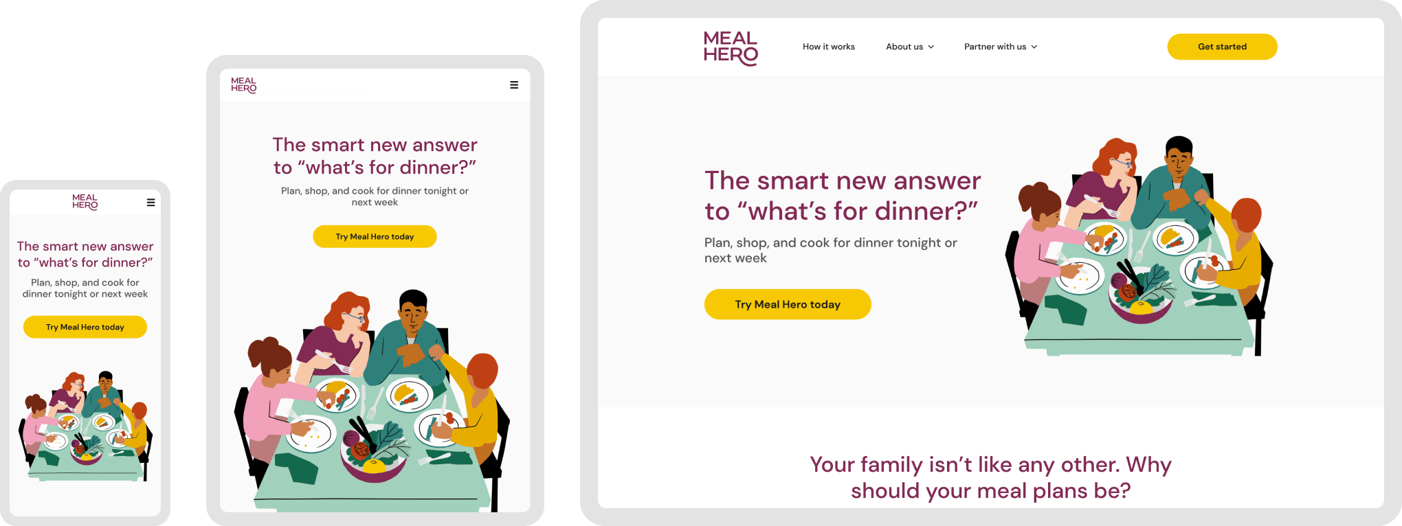 The responsive design for Meal Hero's homepage shown across mobile, tablet, and desktop devices.