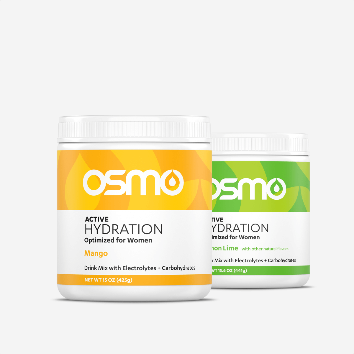 The packaging for Osmo's women's Active Hydration product with Mango and Lemon Lime flavors.