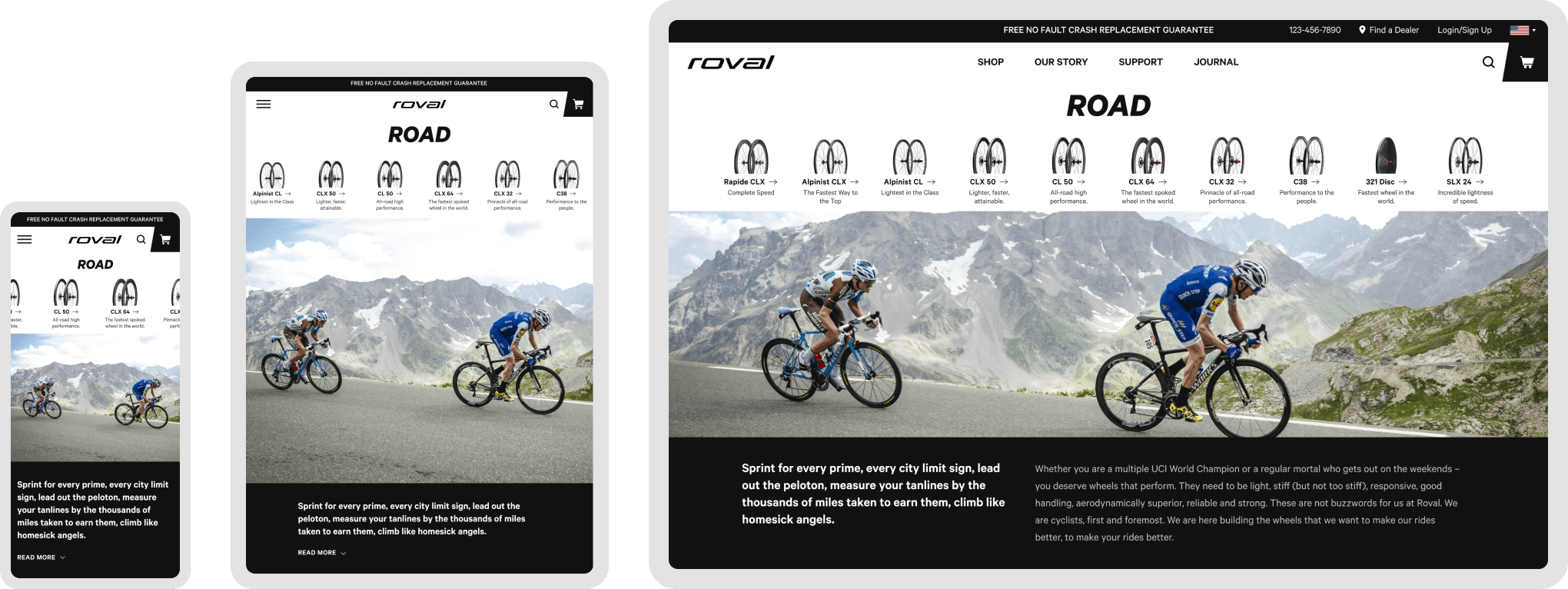 The Road biking page for Roval's site has a responsive design to adapt to mobile, tablet, and desktop devices.