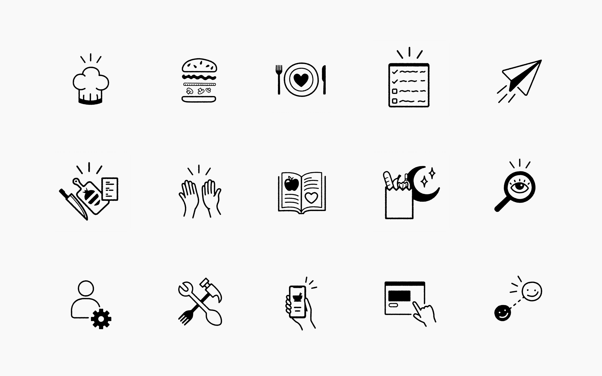 A group of 15 icons designed for Meal Hero's website, featuring food items and digital tools.