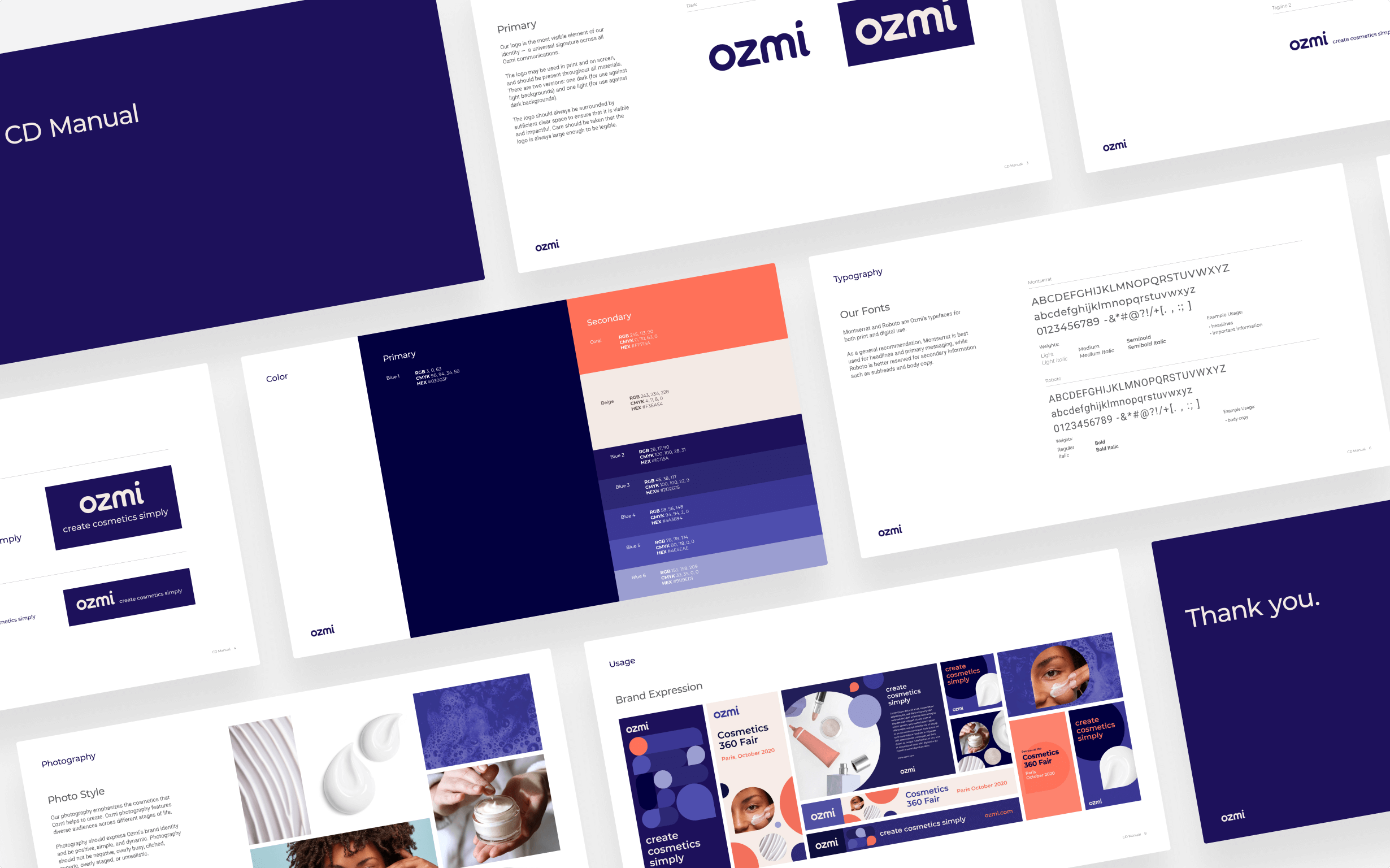 A slide deck outlining Ozmi's brand guidelines including colors, typography, usage,, and expression.