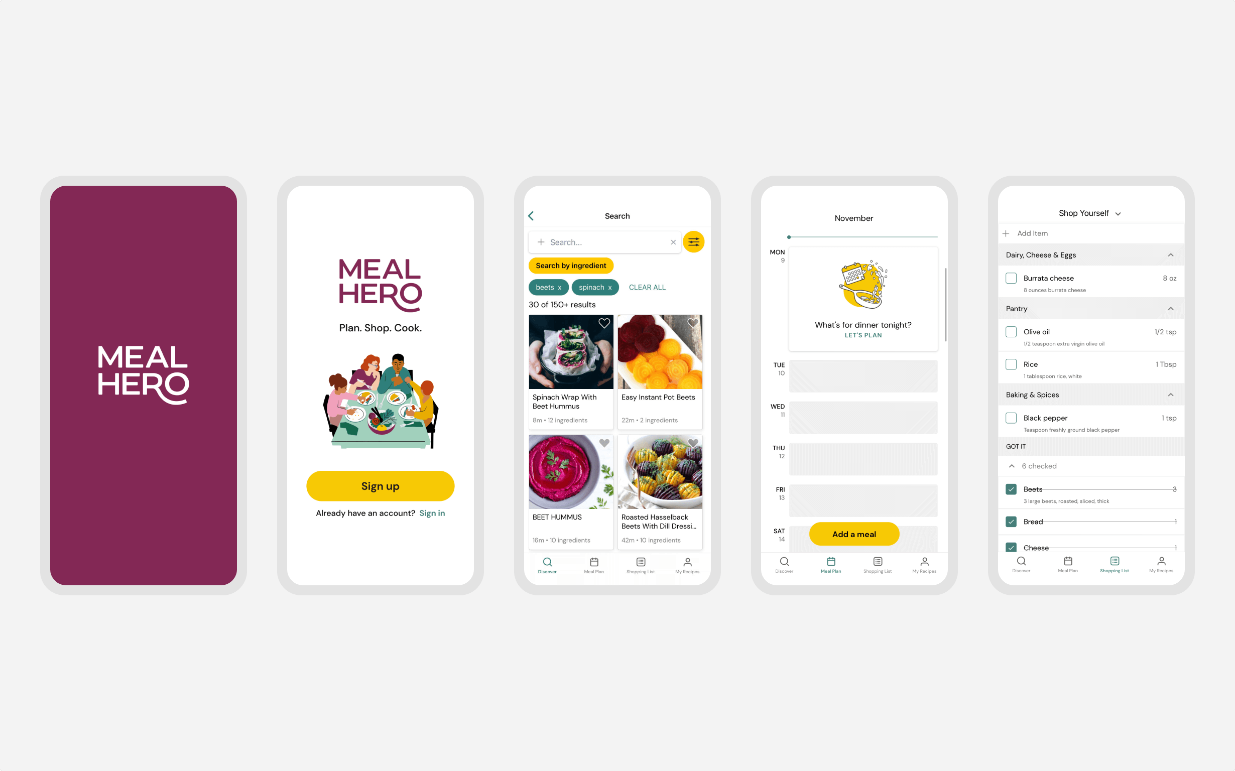Five designs for Meal Hero's mobile app showing pages to sign up, search for meals, and schedule meals.