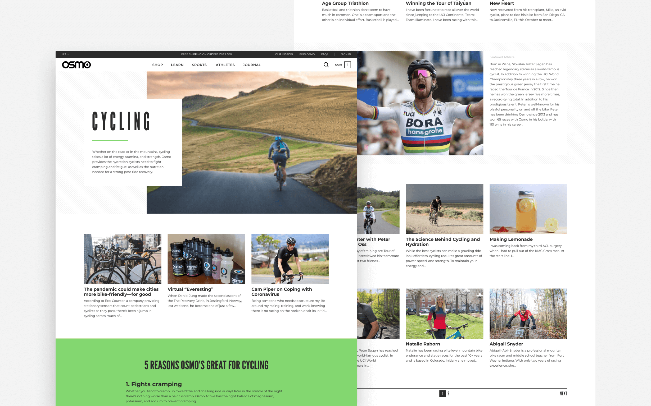 Several pages detail how Osmo can be used for sports like cycling, triathlon, and running.