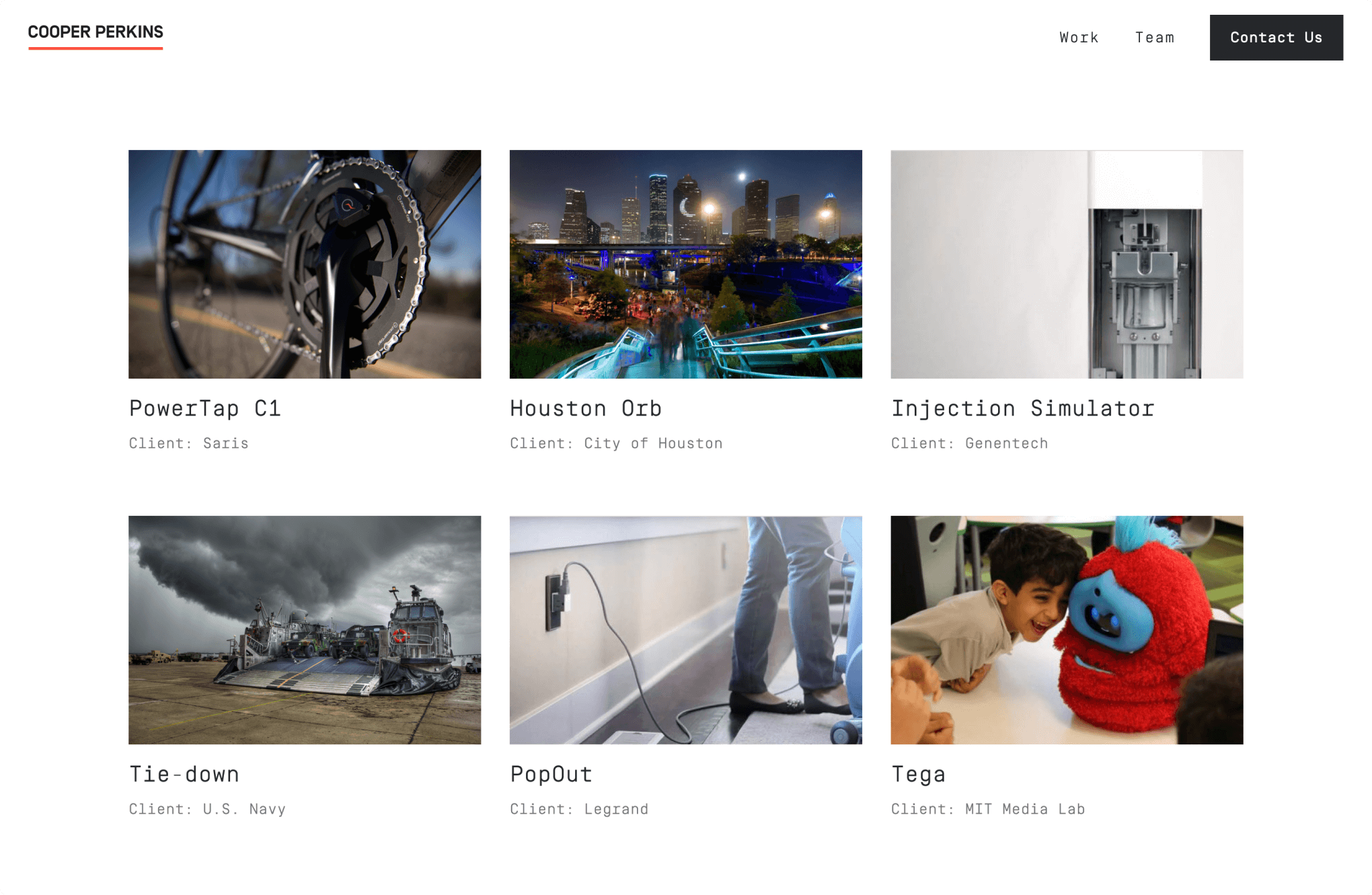The final design for Cooper Perkins' Work page highlights projects they have completed.