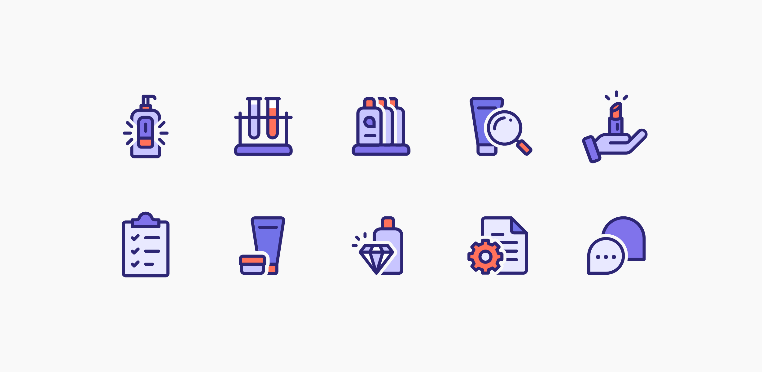 12 icons depicting cosmetics products and creation tools that are used on the Ozmi website.