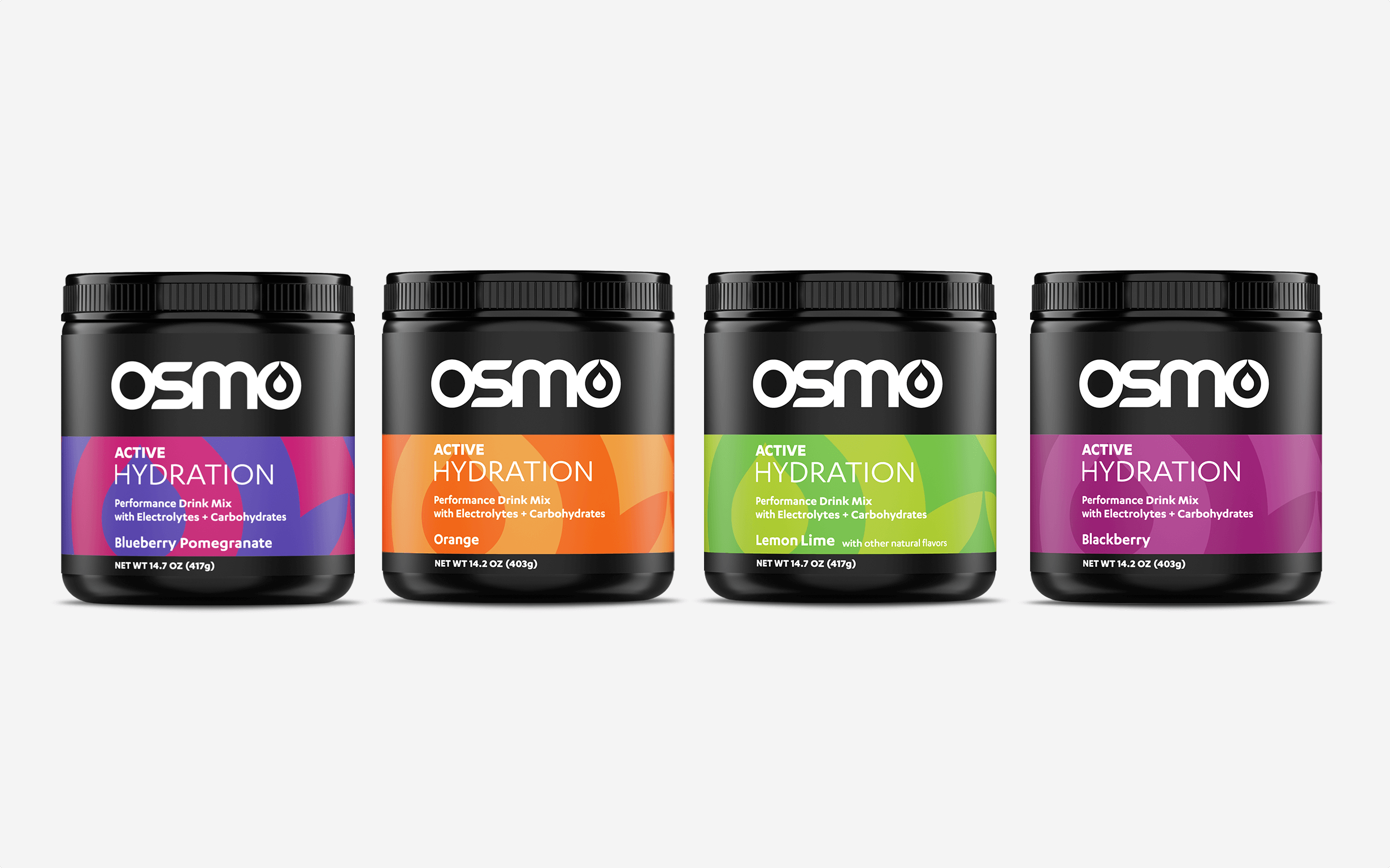 Four tubs of four flavors of Osmo's Active Hydration product show the packaging design.