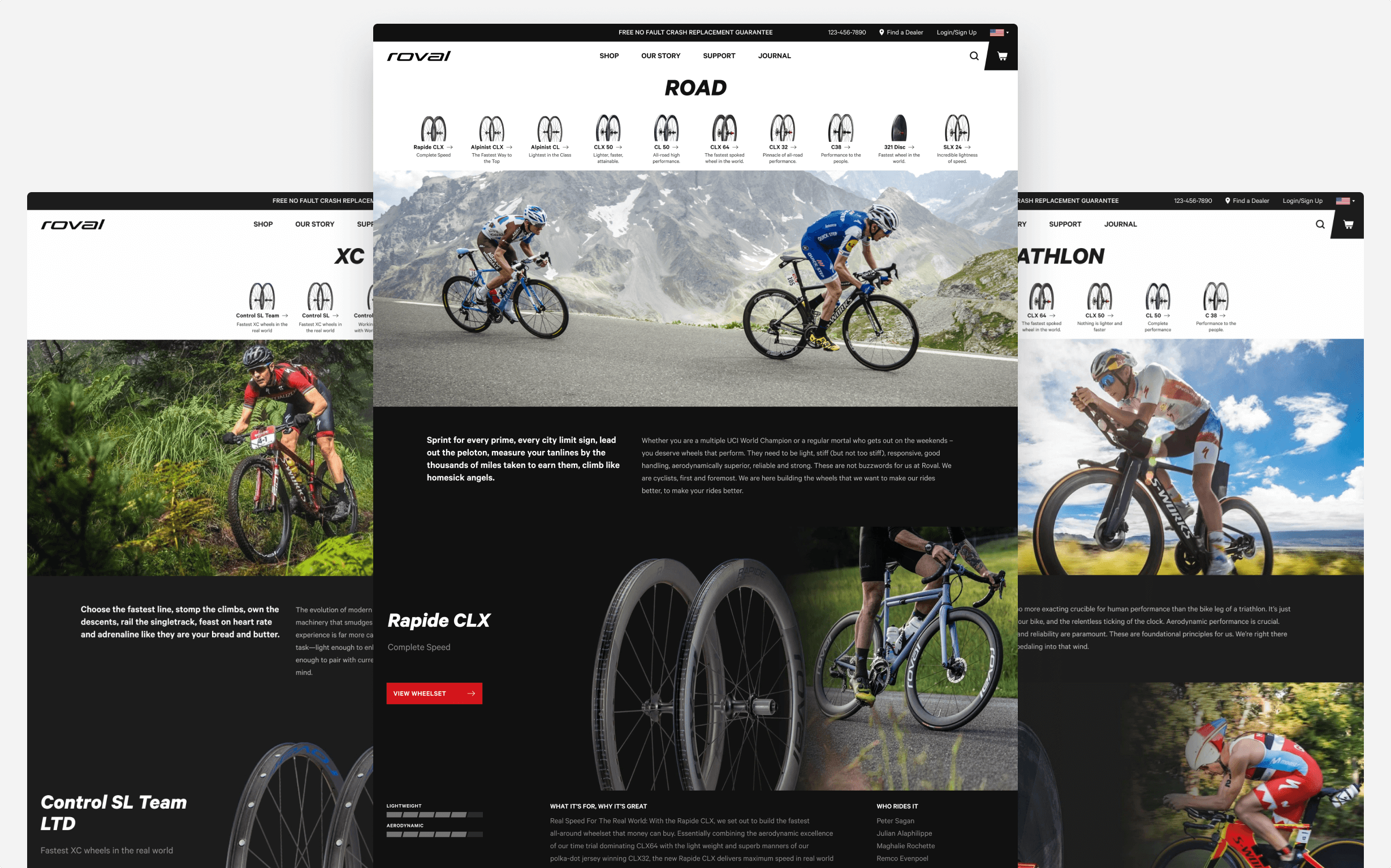 The final design for web pages on Road, XC, and Triathlon wheelsets welcome riders from each discipline.