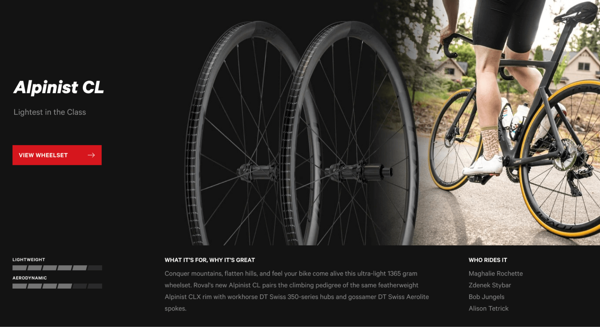 The category card for an Alpinist wheelset provides details on what it's for and why it's great.