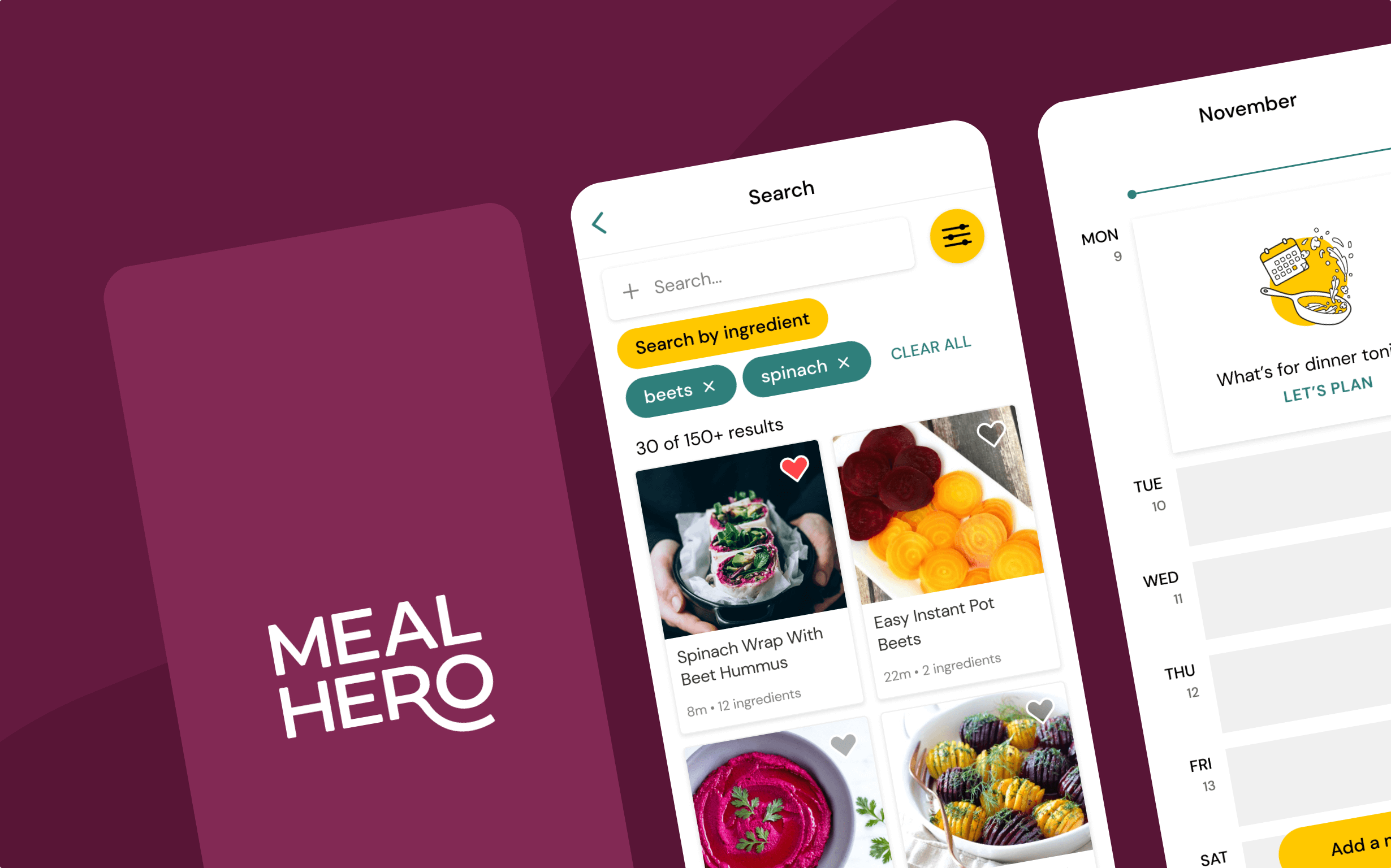 Designs for Meal Hero's mobile app showing pages search for meals, and schedule meals.
