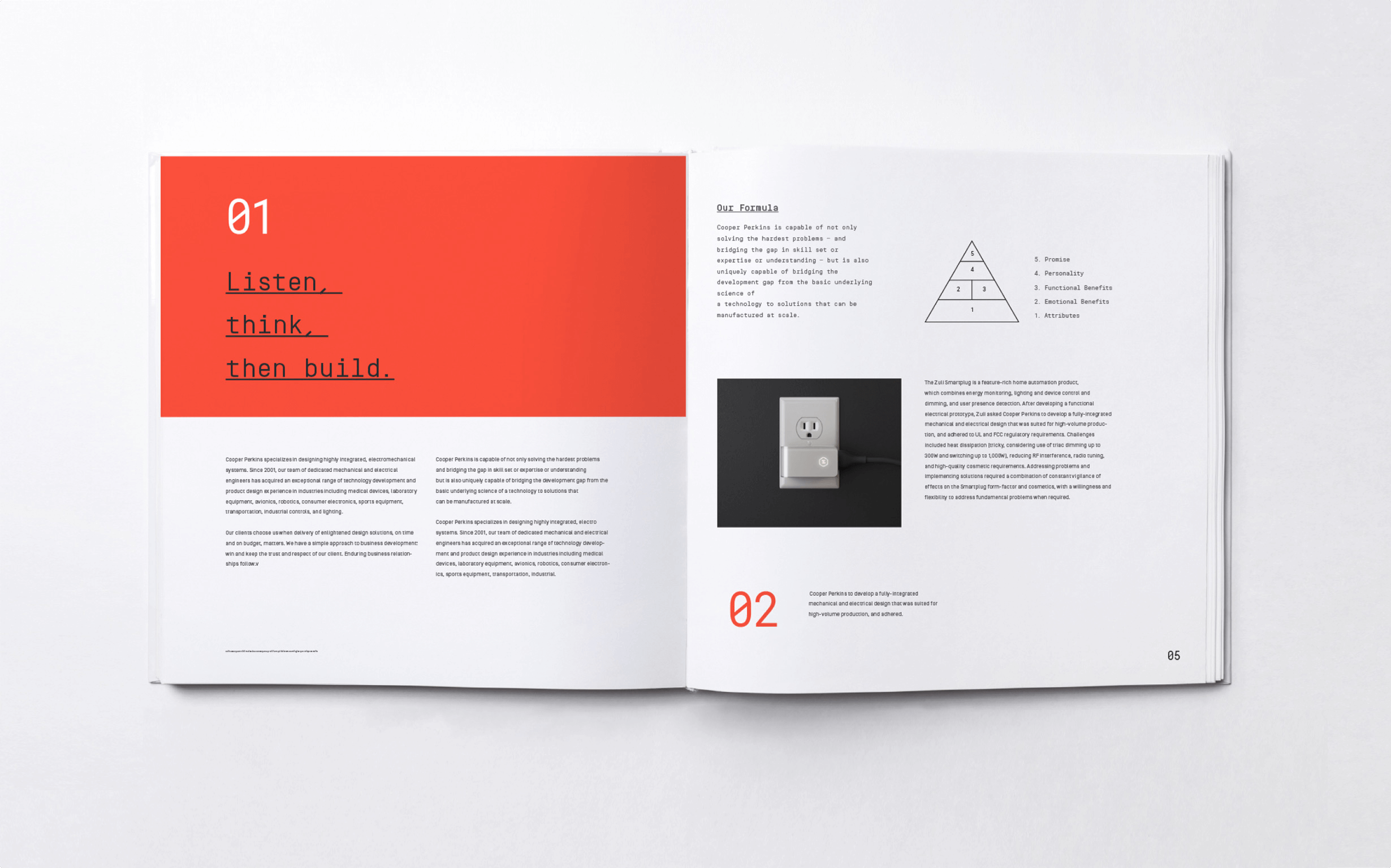 """Cooper Perkins' branding is expressed in a book with the phrase, """"Listen, think, then build"""" and an outline of their process."""