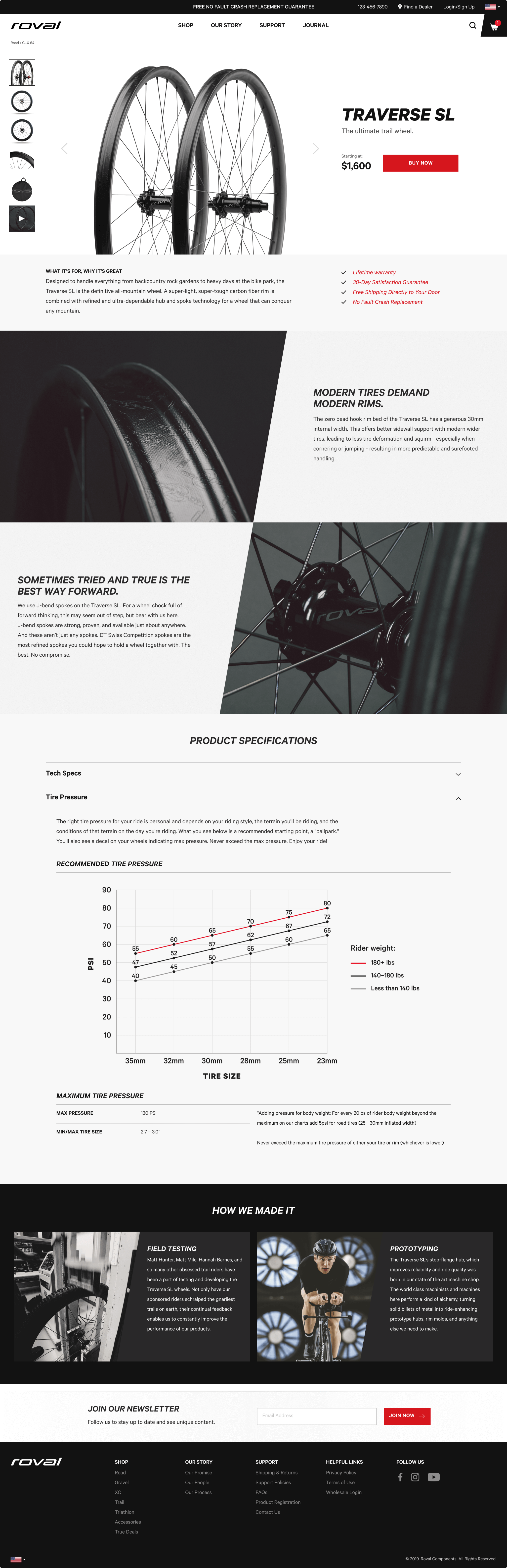 The final design for a Roval product page shows thorough specifications for the wheelset.