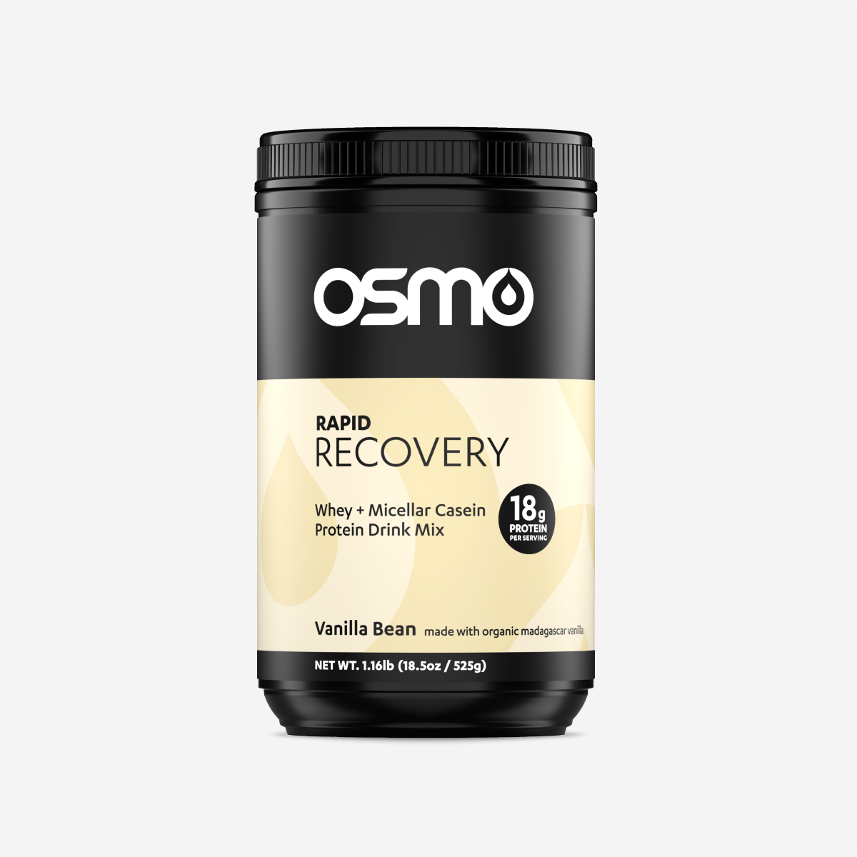 The Vanilla Bean flavor of Osmo's Recovery product features a neutral color scheme.