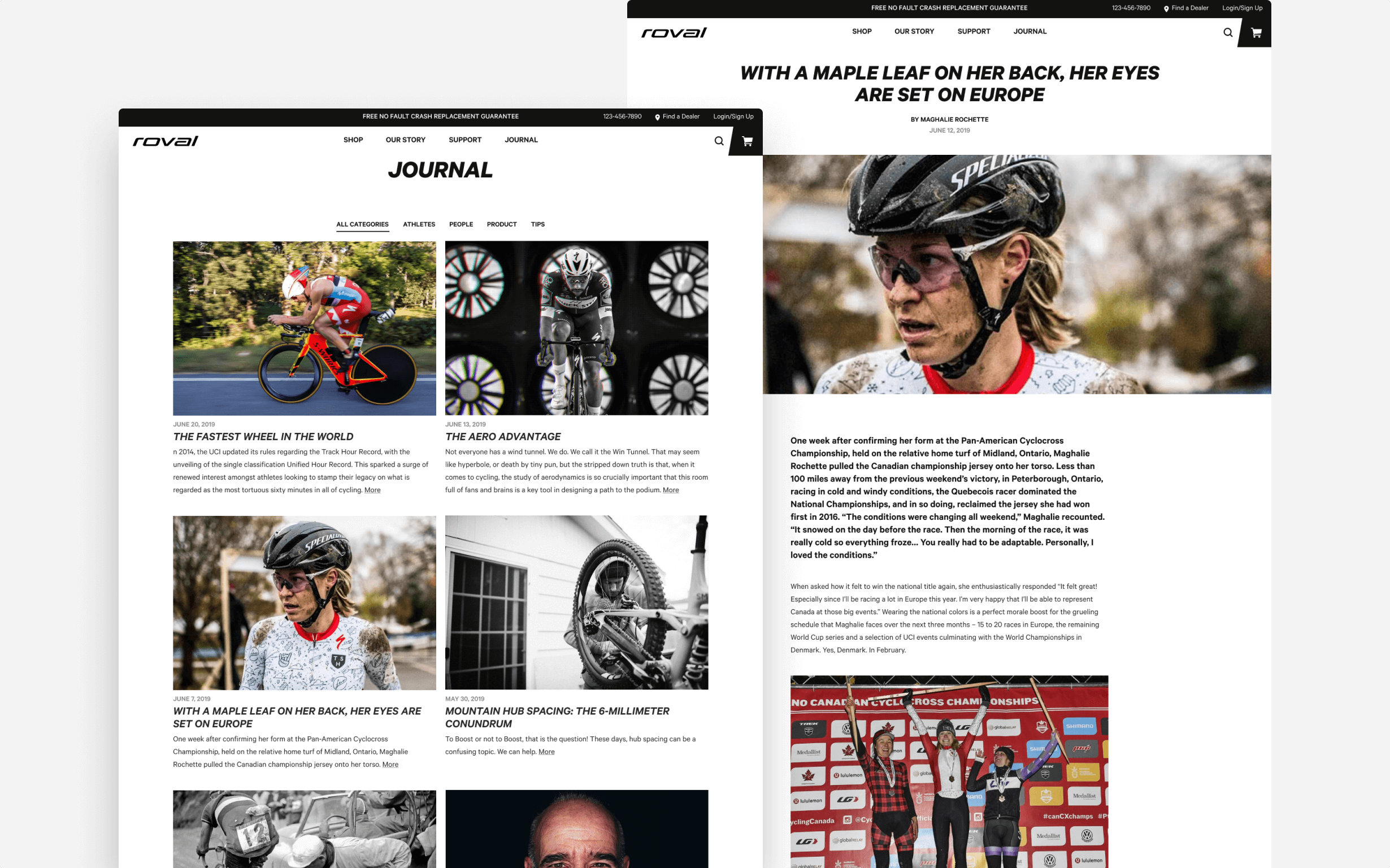 Roval's Journal page directs to blog articles, and on another page a blog article tells the story of a rider.