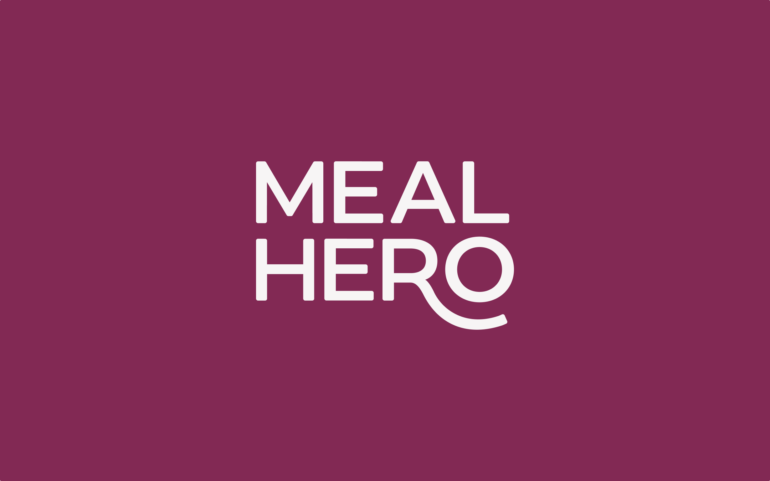 Meal Hero's logo features white text on a purple background, showing a playful yet modern brand different from other food apps.