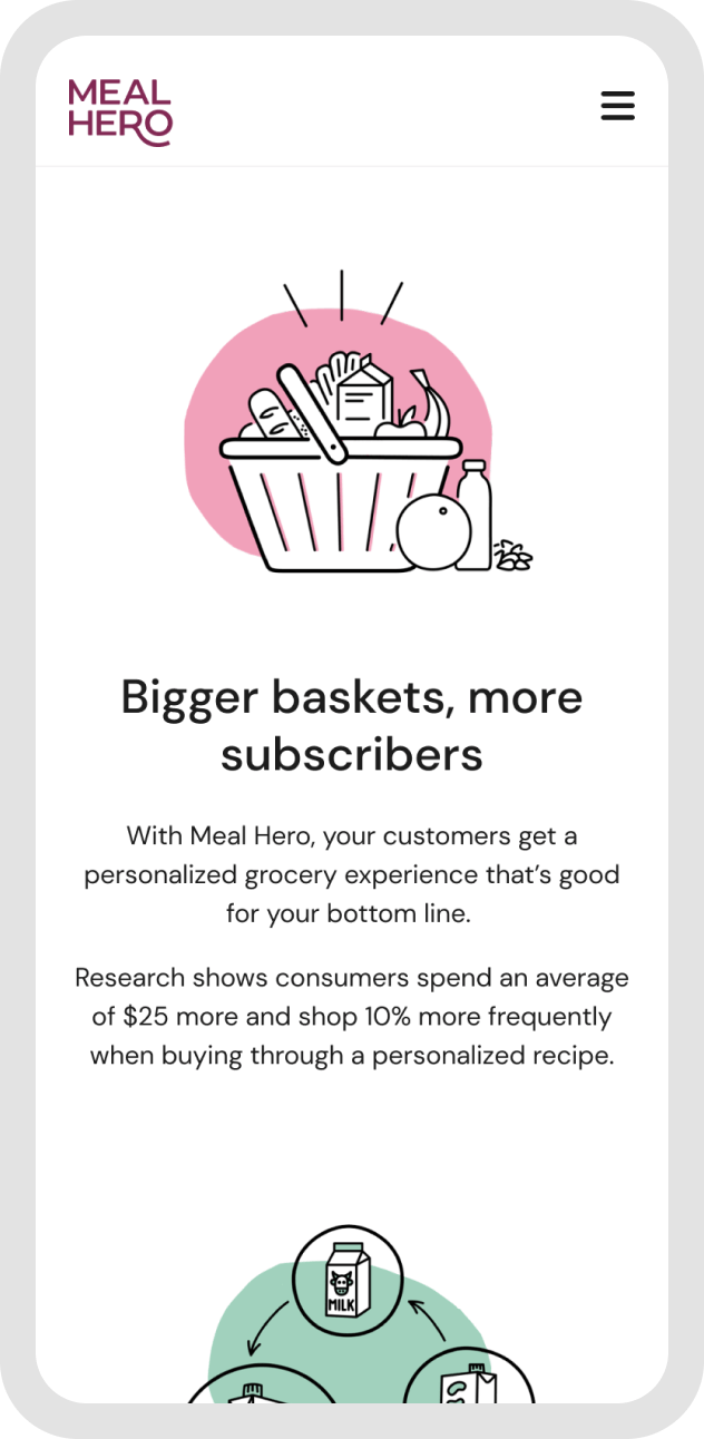 Meal Hero's web design displayed on a mobile device featuring an illustration of a basket of grocery items.