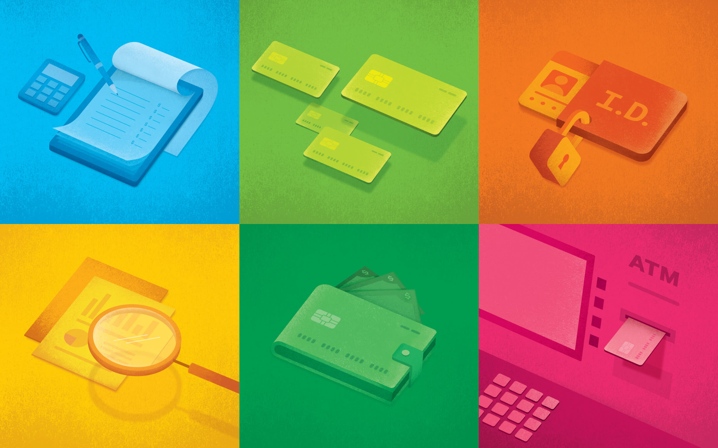 A set of 6 illustrations of financial tools in bold colors that appear on the Practical Money Skills money guides.