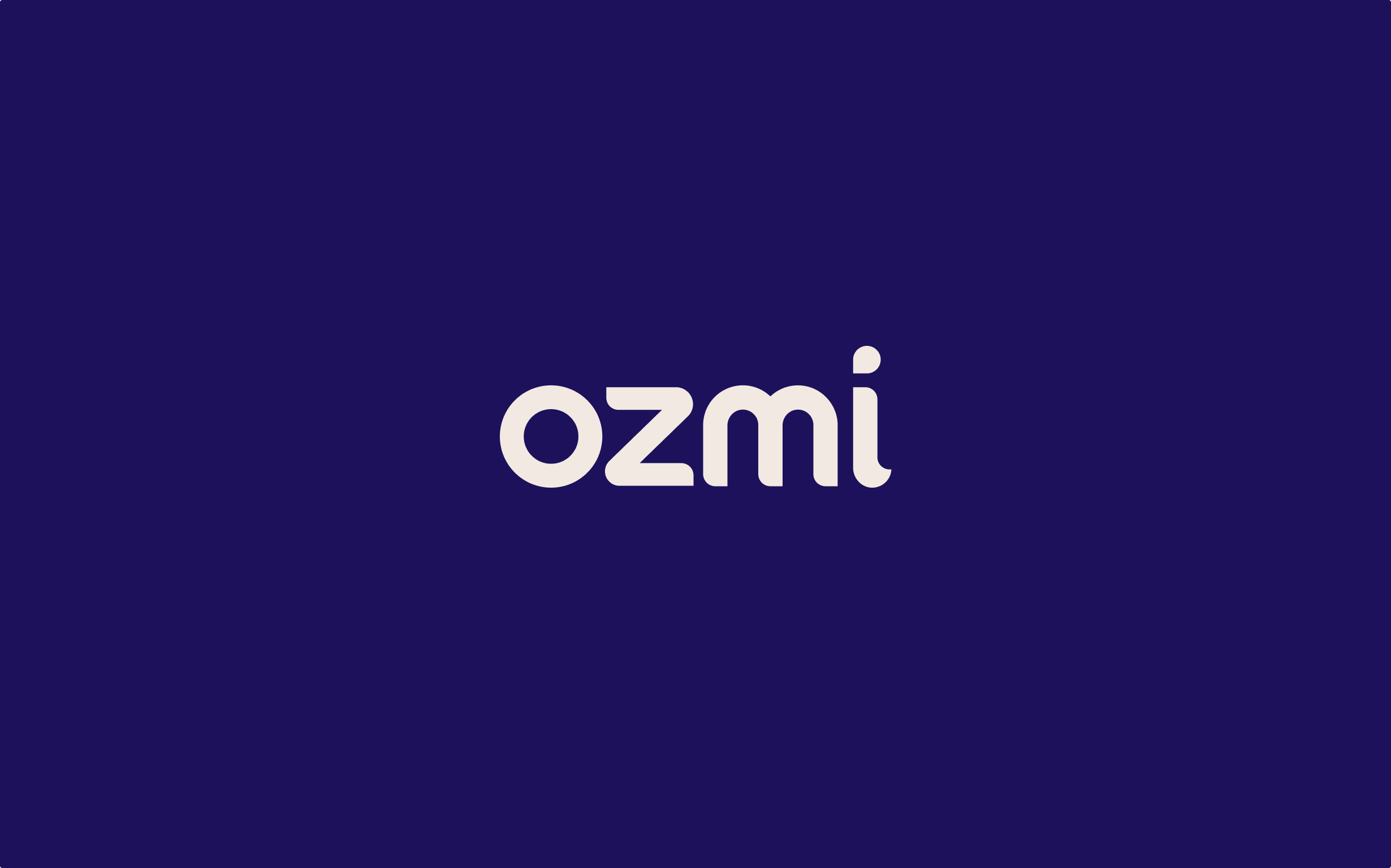 Ozmi's logo is a cream-colored wordmark on a dark purple solid background, with the dot in the i forming a dollop shape.