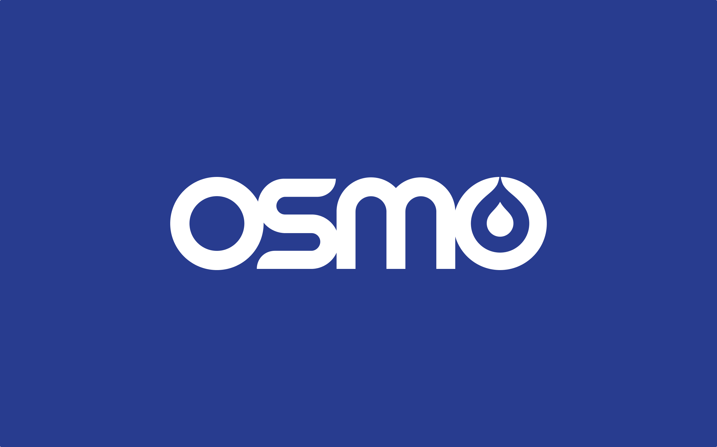 Osmo's full logo shows the name of the brand with the drop element contained within the final o.