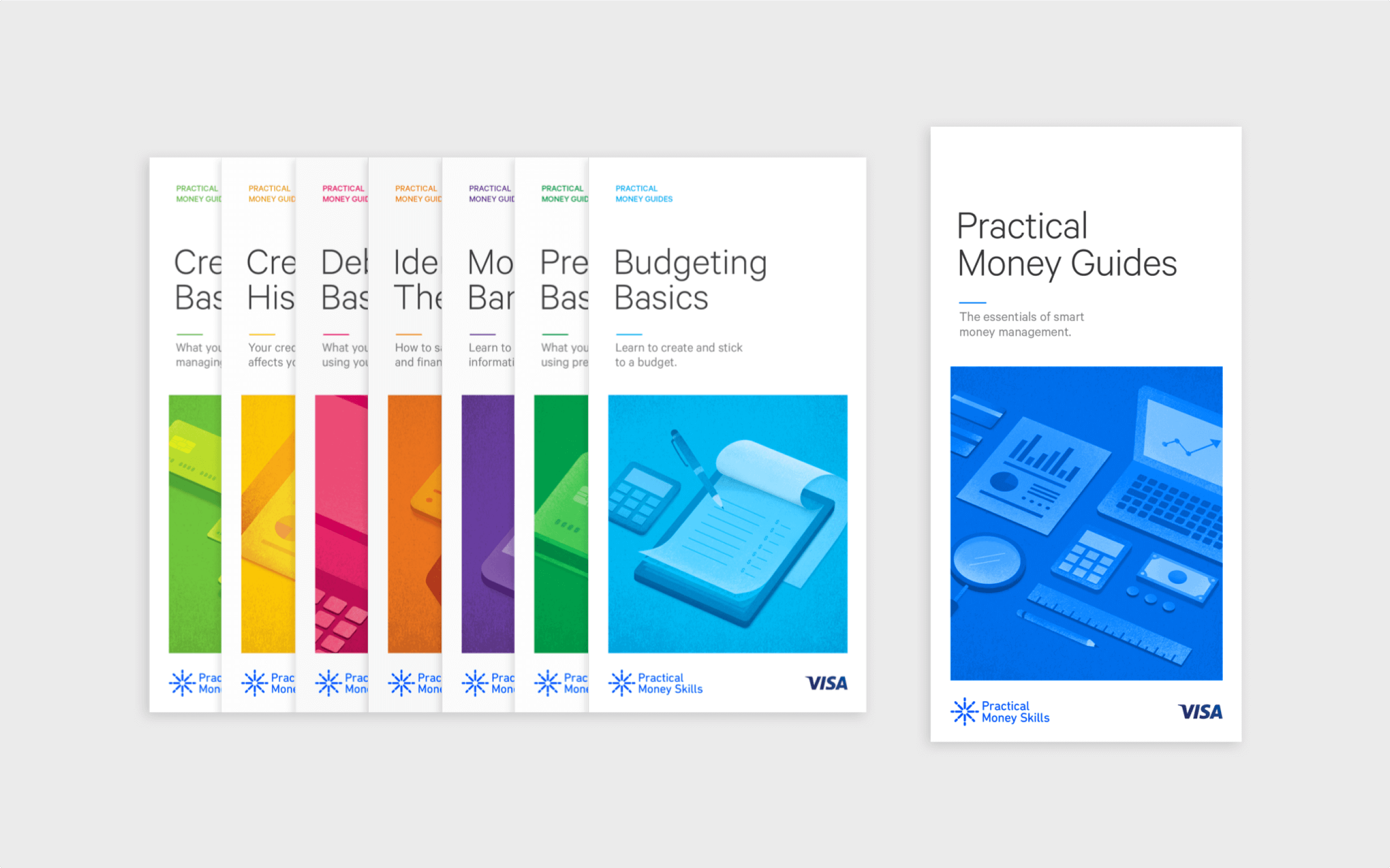A set of guides outline financial literacy topics, with short headlines and colorful illustrations.