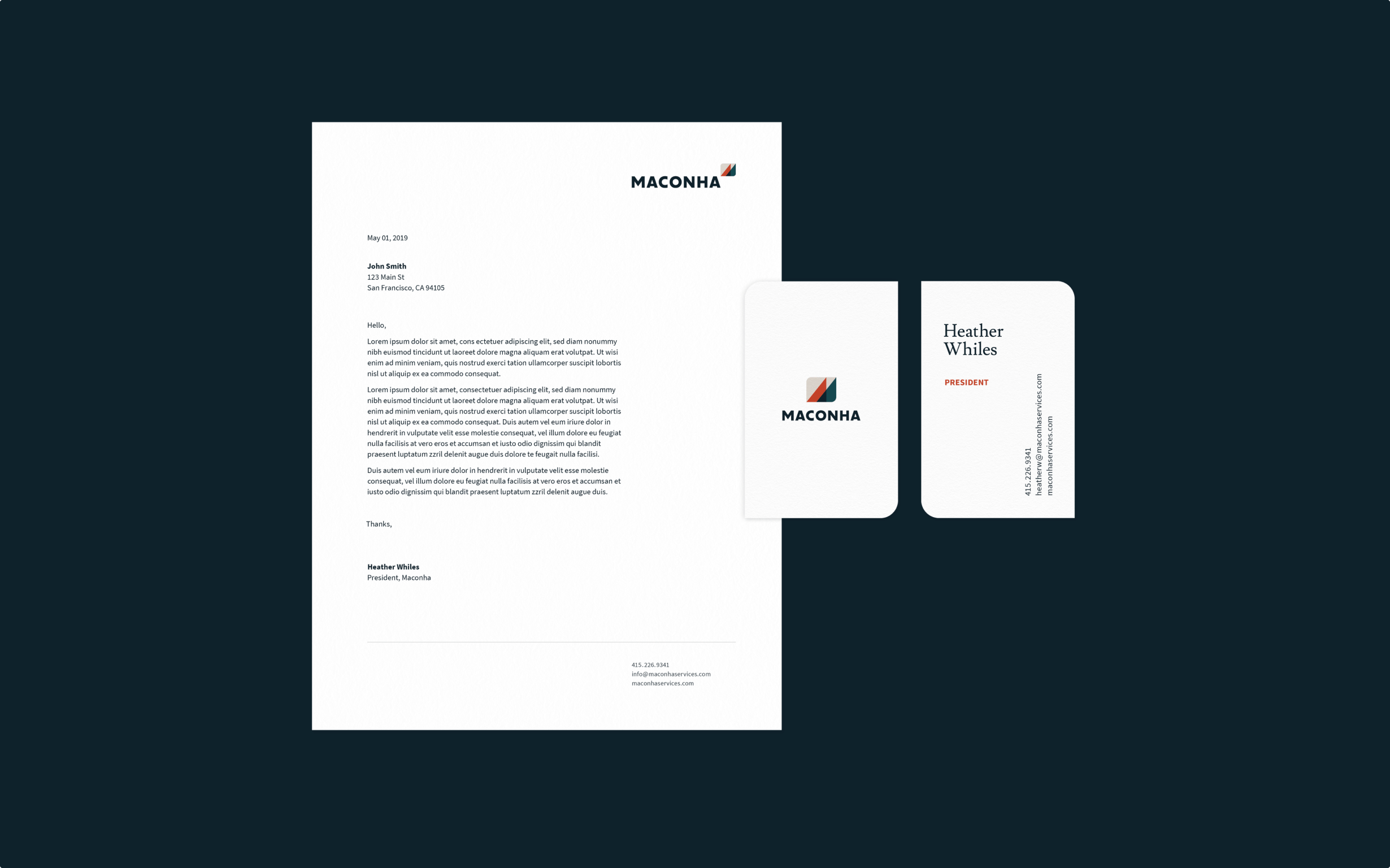 The Maconha brand is expressed on printed materials including business cards and a letterhead.