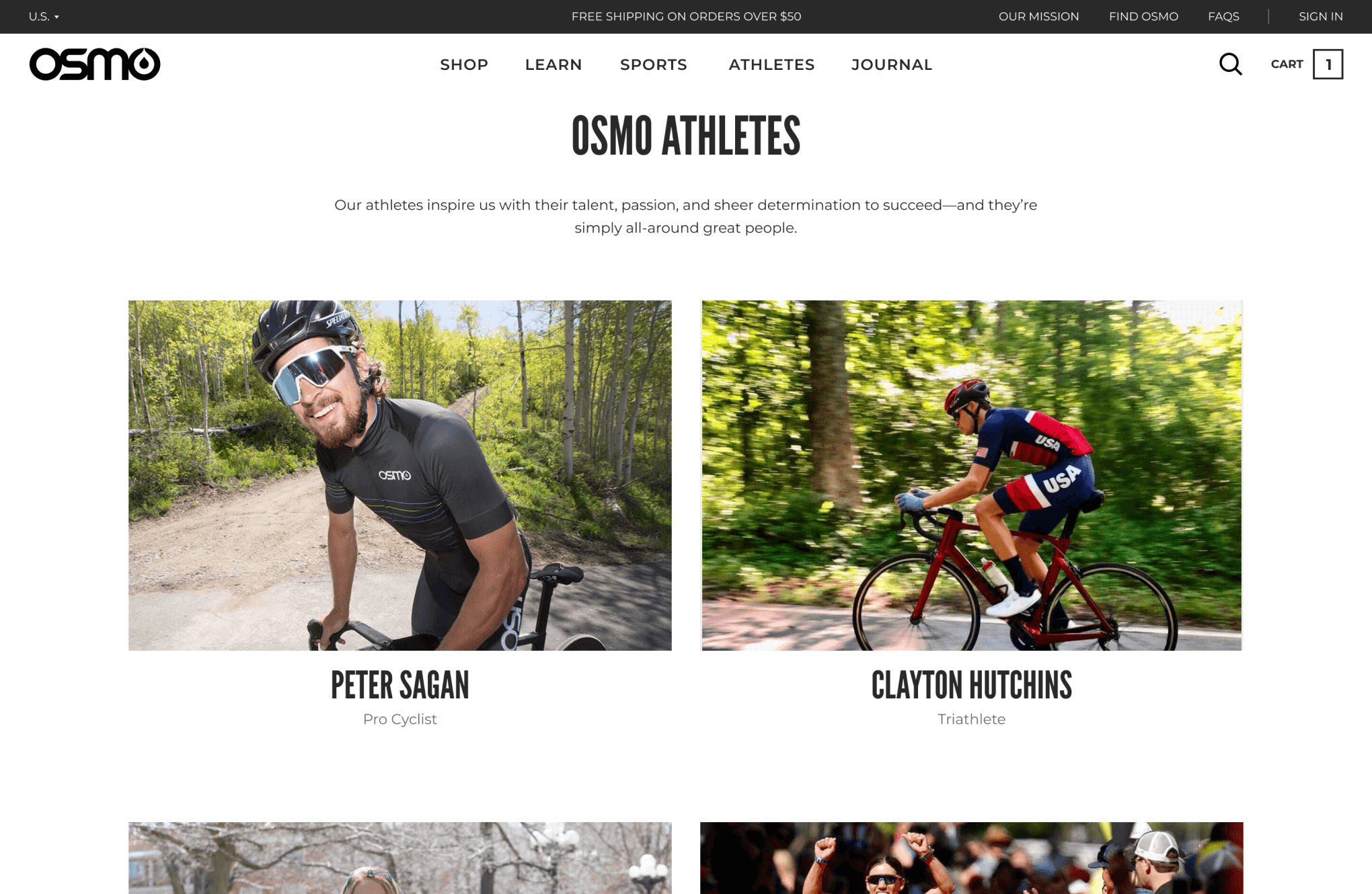 The final design for a web page featuring Osmo's sponsored athletes.