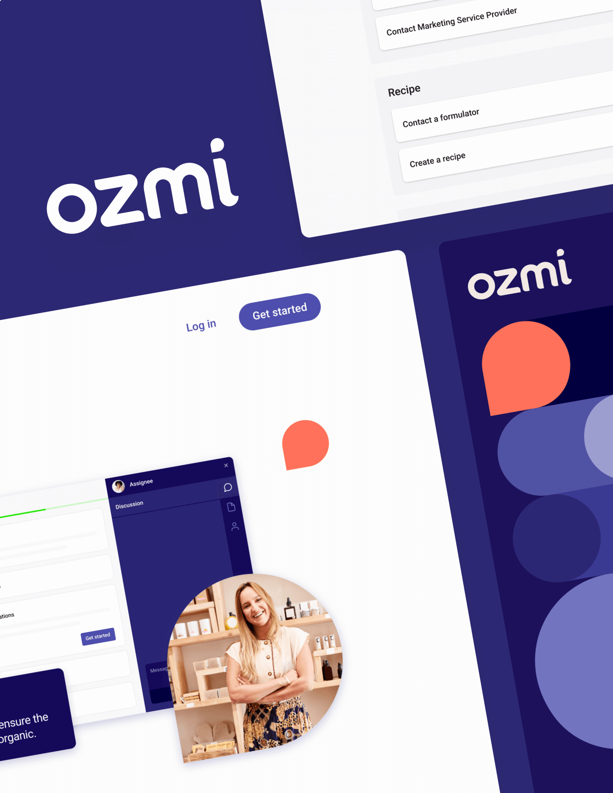 A collage showing Ozmi's wordmark, final desktop designs for the web app, and a social media post on mobile.