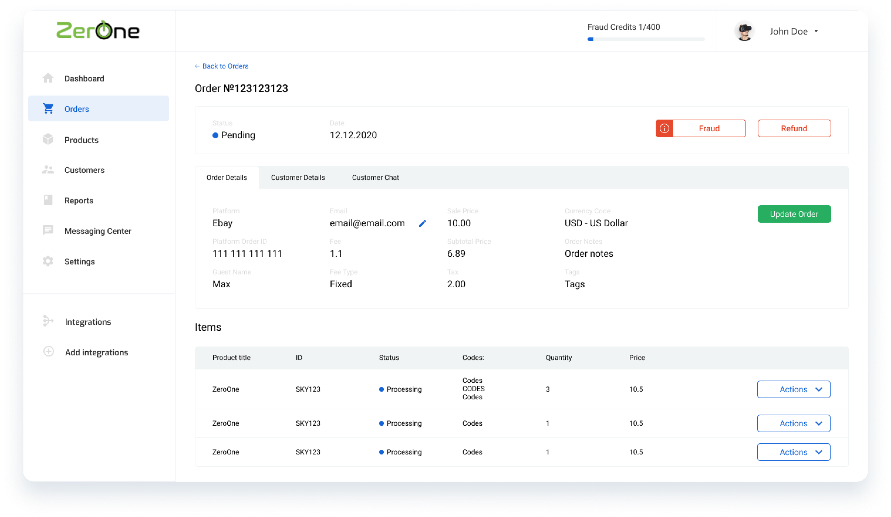 Order management for digital products. ZeroOne dashboard for eBay orders for digital goods
