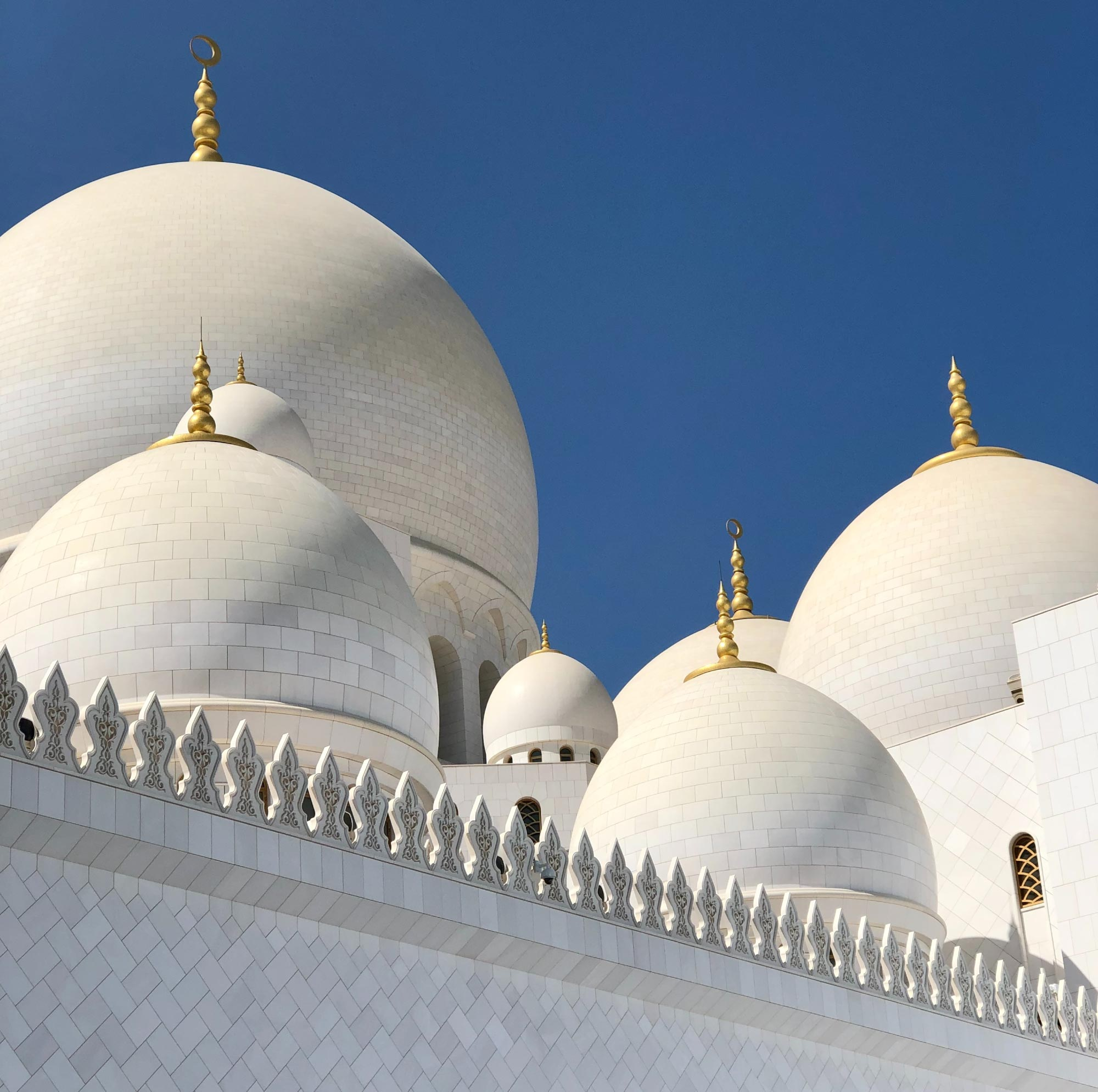 a close up shot of the brilliant-white domes of the mosque in abu dhabi