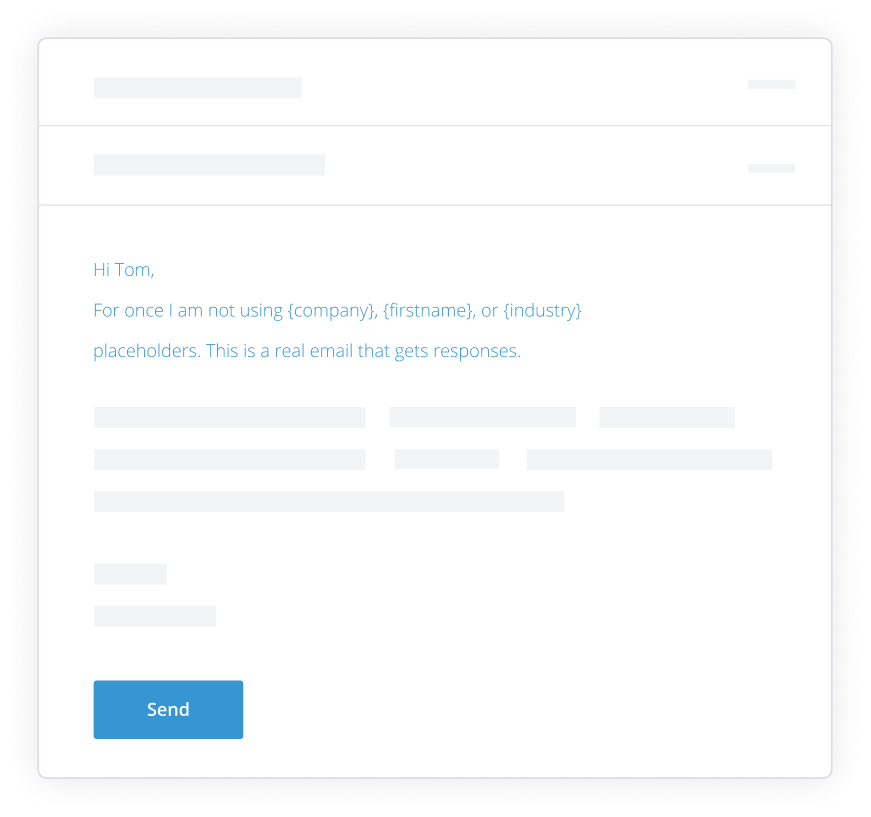 A render of a cold email template