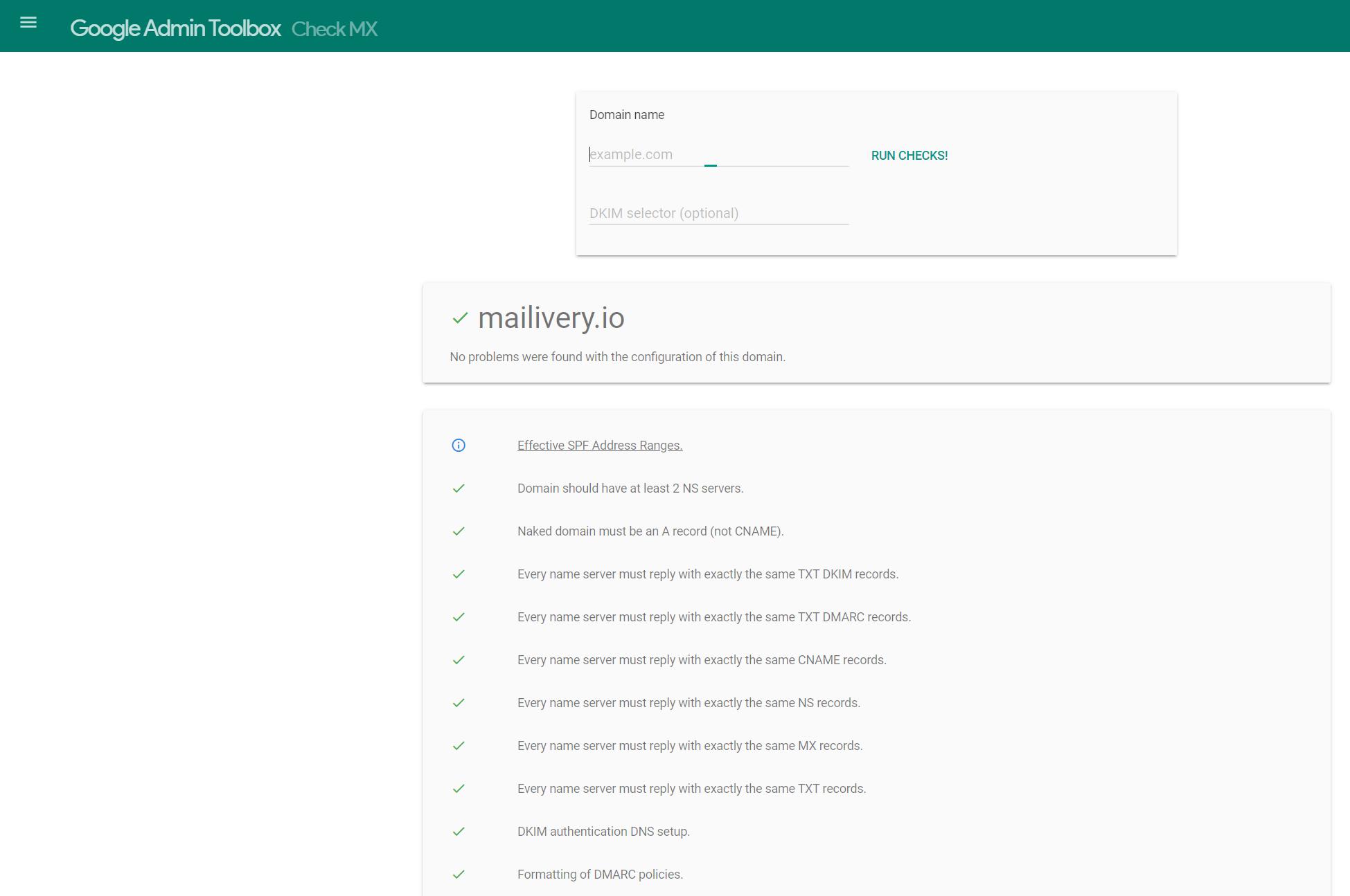 google admin toolbox check mx