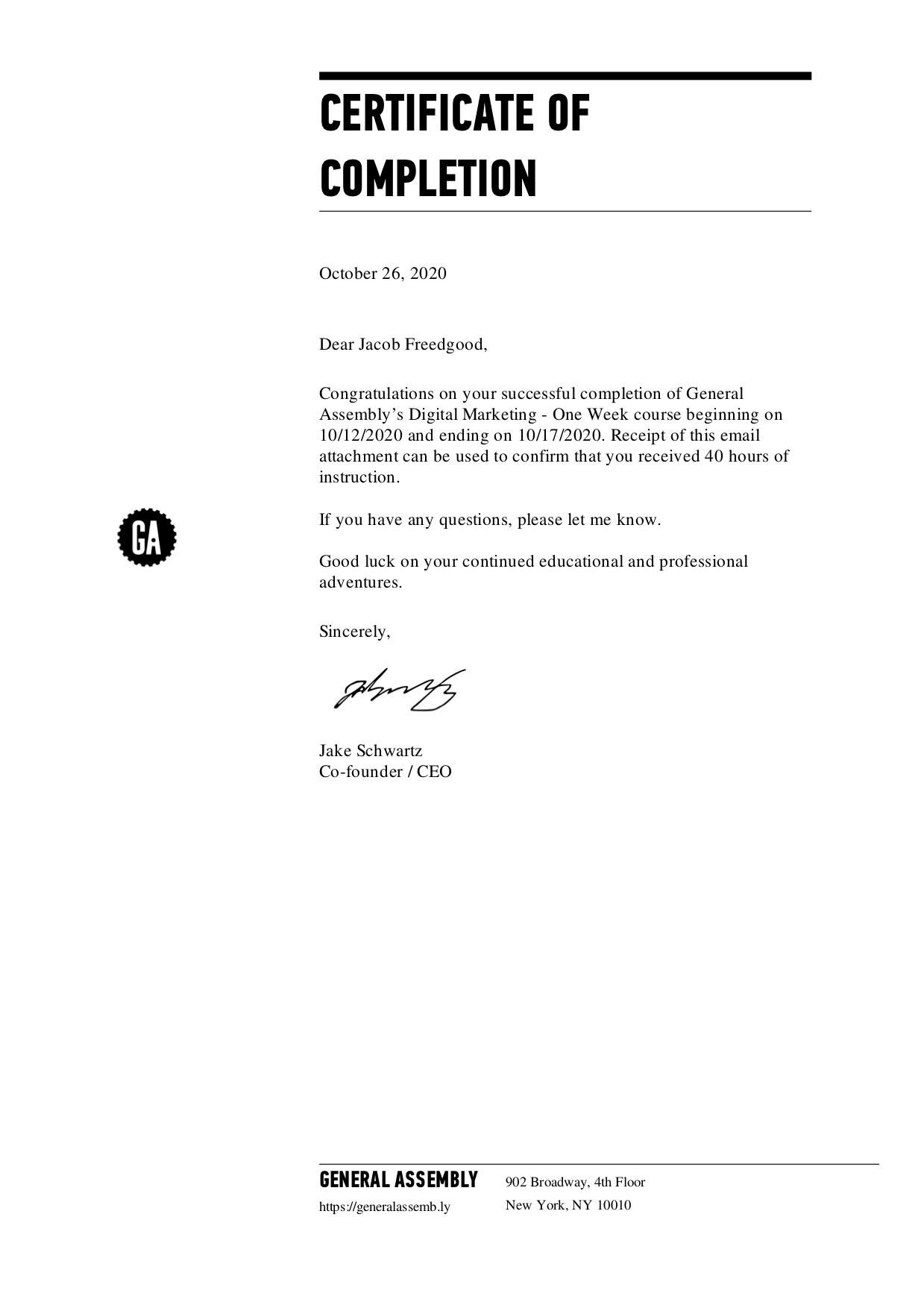 General Assembly Digital Marketing Certificate