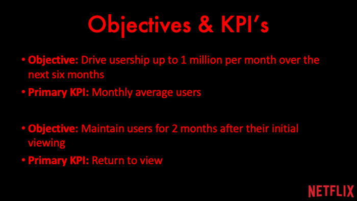 Objective: Drive usership up to 1 million per month over the next six months Primary KPI: Monthly average users  Objective: Maintain users for 2 months after their initial viewing Primary KPI: Return to view