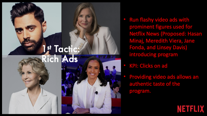 •Run flashy video ads with prominent figures used for Netflix News (Proposed: Hasan Minaj, Meredith Viera, Jane Fonda, and Linsey Davis) introducing program •KPI: Clicks on ad •Providing video ads allows an authentic taste of the program.