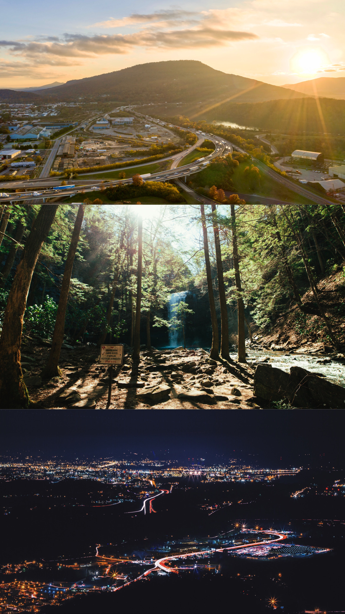 Three stacked landscape images.