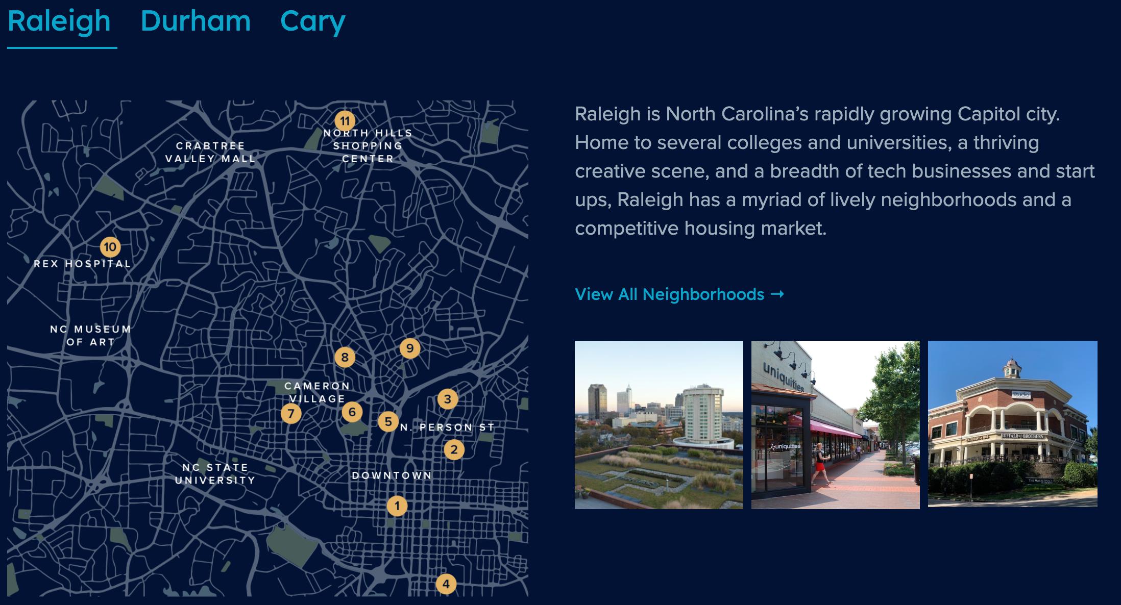 Metro Digs Neighborhood Map Raleigh