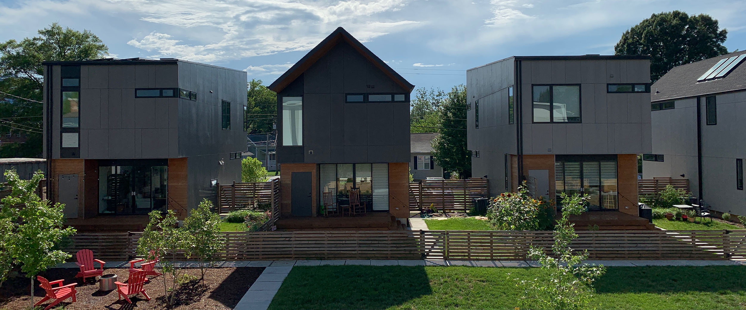 A row of super modern gray and wood houses in Durham.