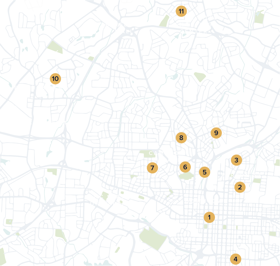 A map of Raleigh with neighborhood numbers and points of interest.
