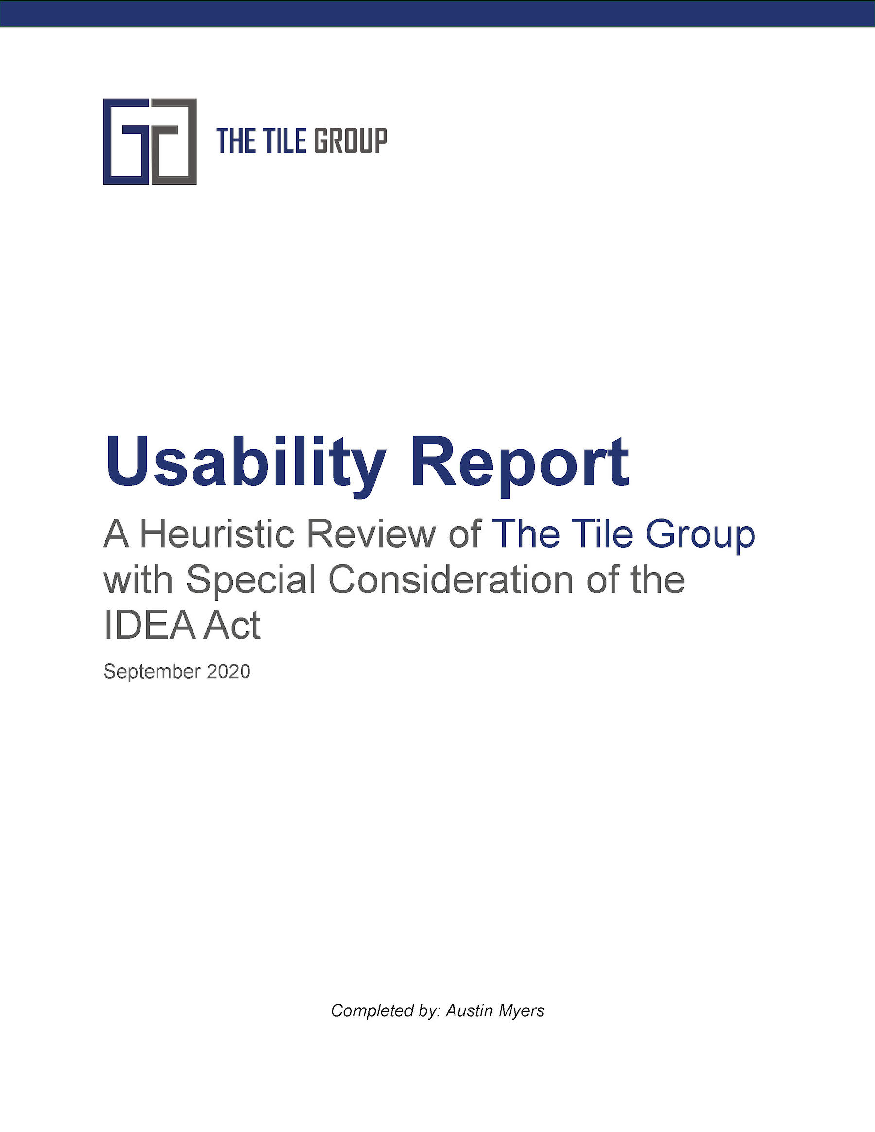 Usability Report Title Page