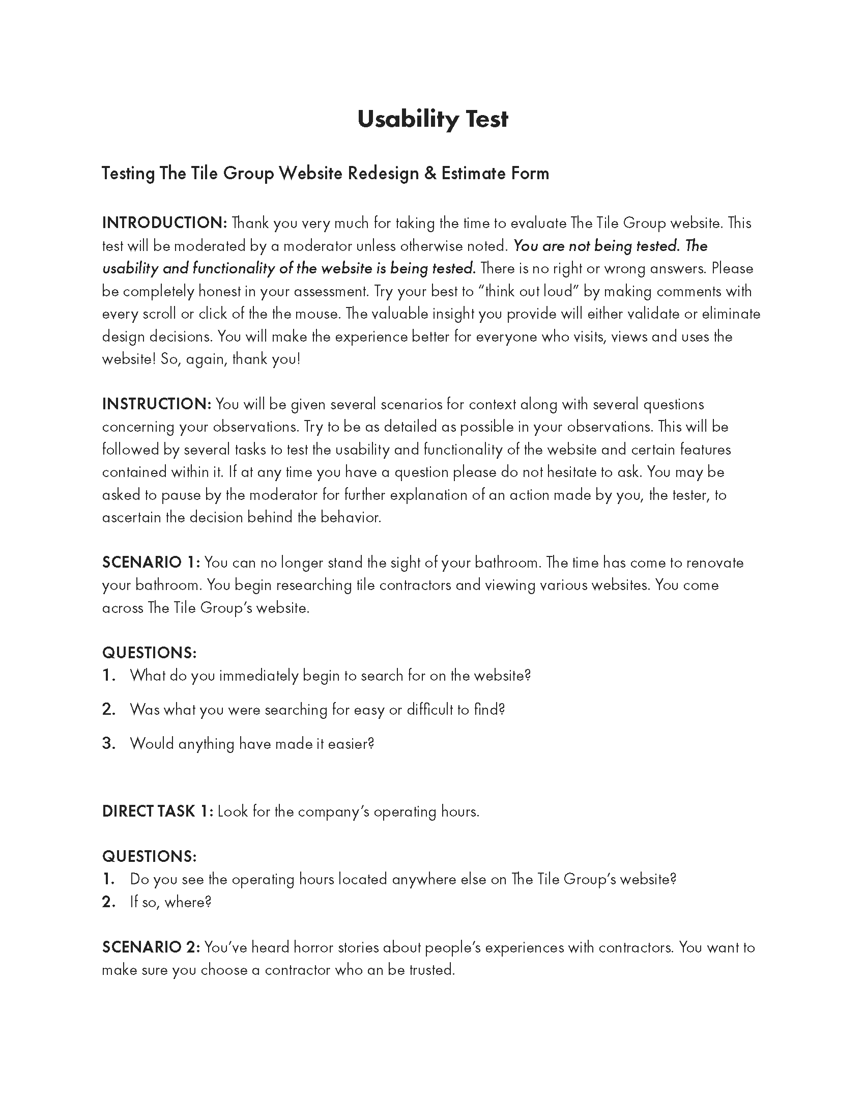 Usability Test Script page 1 of 3