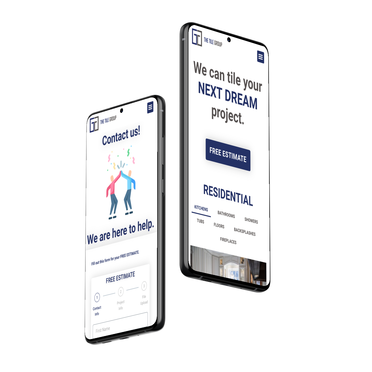 Mobile Contact page and Project page for The Tile Group website.