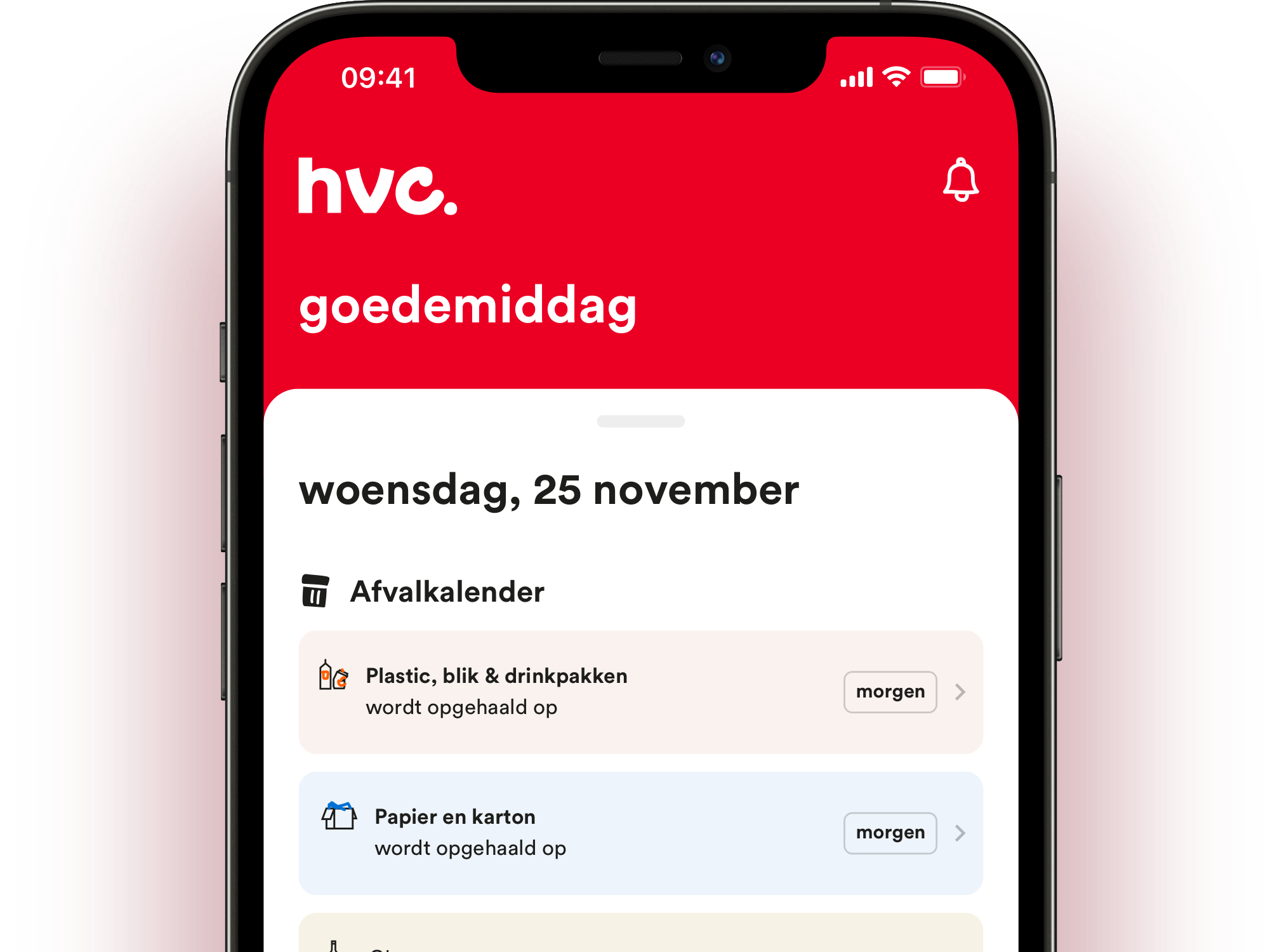An iPhone mockup of the HVC app.