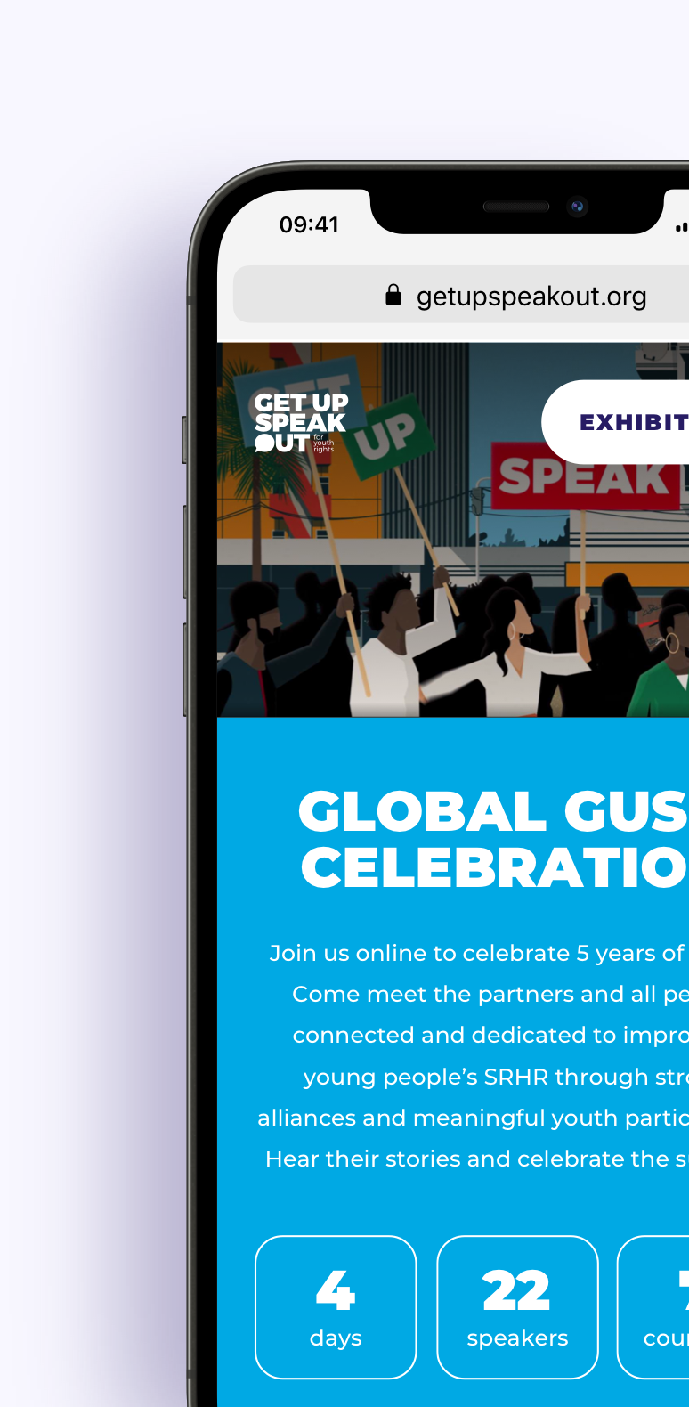 An iPhone mockup with a screenshot of the GUSO conferences page.