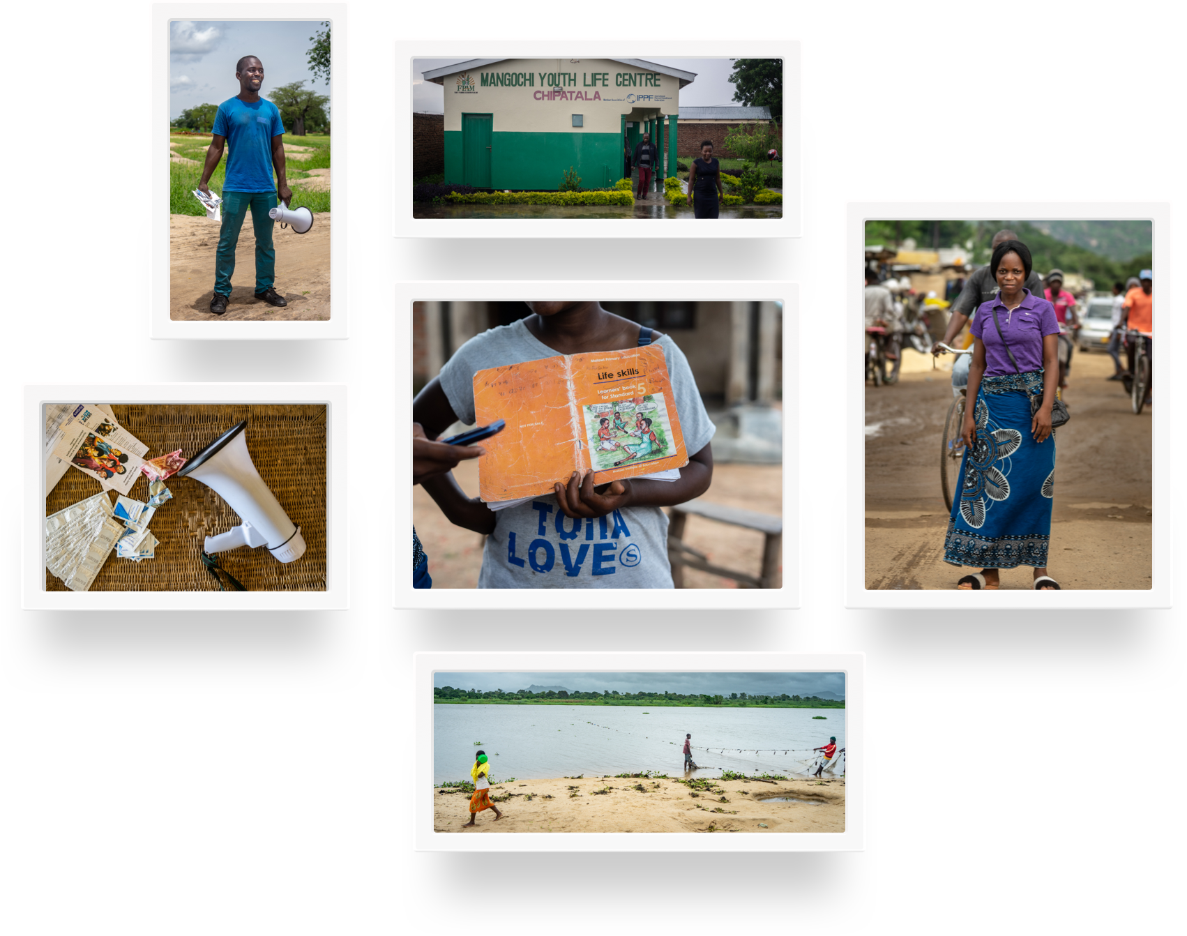 Grid of frames with different photographs of Malawi.